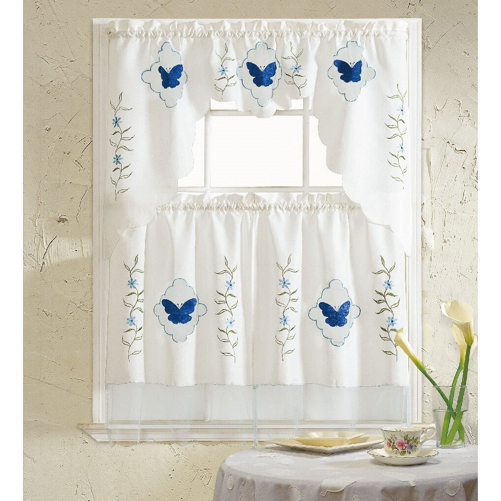 Kitchen Curtains Sets: Daniels Bath Butterfly Blue 3 Piece Kitchen Curtain Set