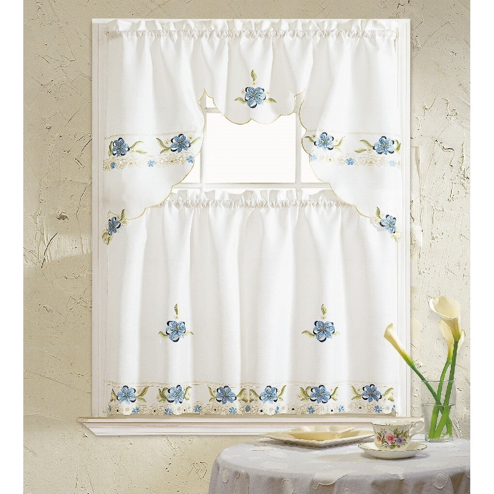 Amazon Kitchen Curtains Discount Store: Daniels Bath Aster 3 Piece Kitchen Curtain Set & Reviews