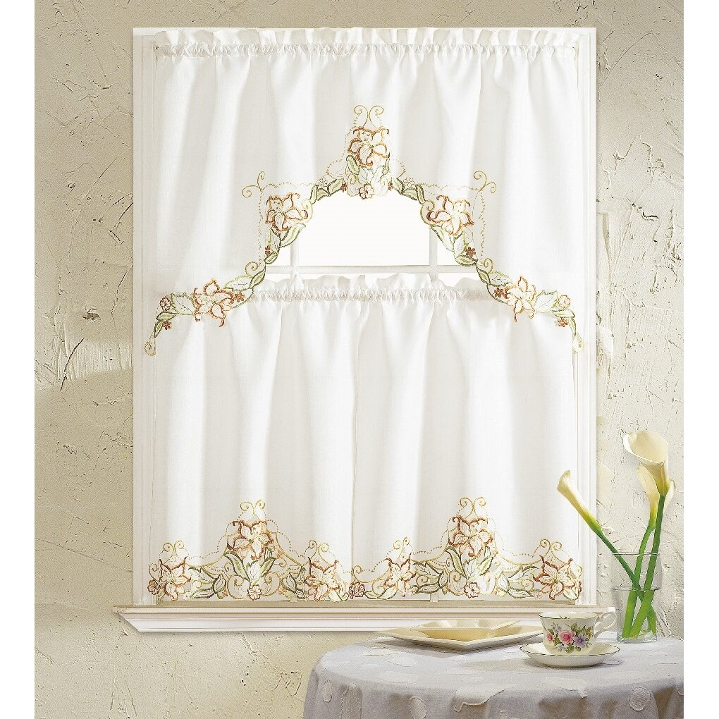 Daniels Bath Glory Flower 3 Piece Kitchen Curtain Set