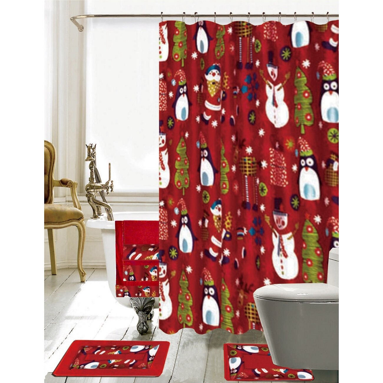 Christmas bathroom decor - Daniels Bath Christmas Bathroom Decor 18 Piece Shower Curtain Set