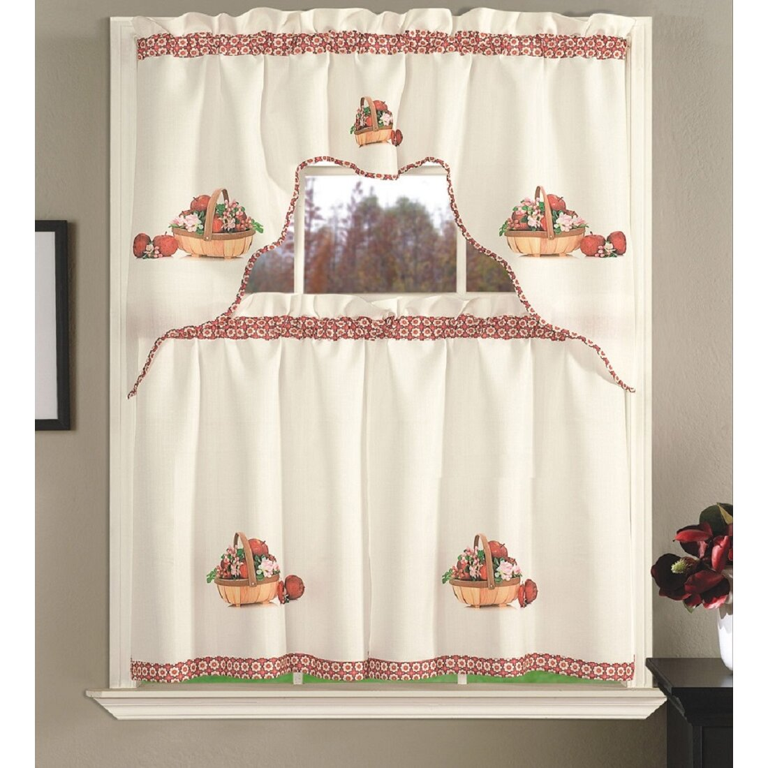 Apple Kitchen Decor Cheap: Daniels Bath Apple Blossom Kitchen Curtain Set