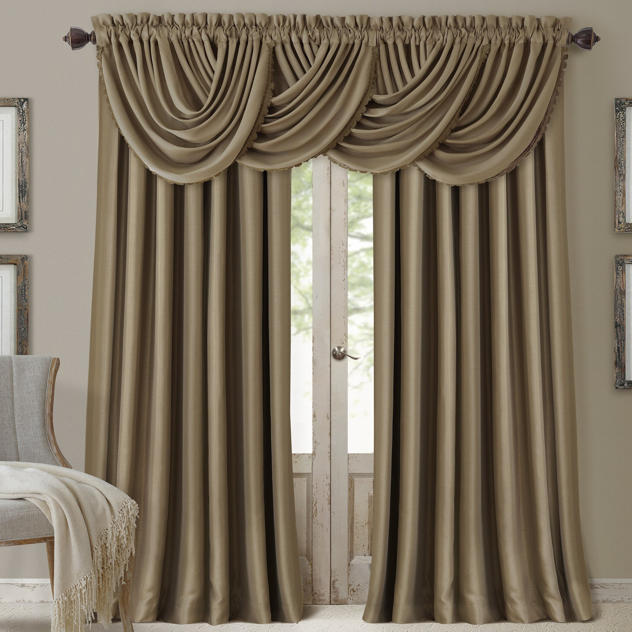 Elrene home fashions all seasons blackout waterfall for Window valance