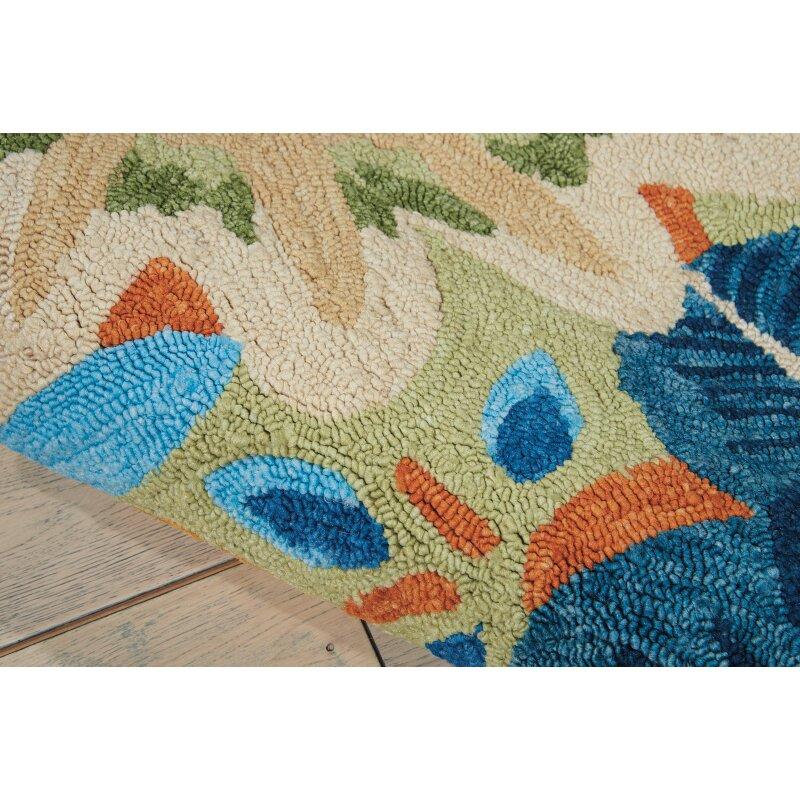 Nourison south beach aqua indoor outdoor area rug amp reviews wayfair