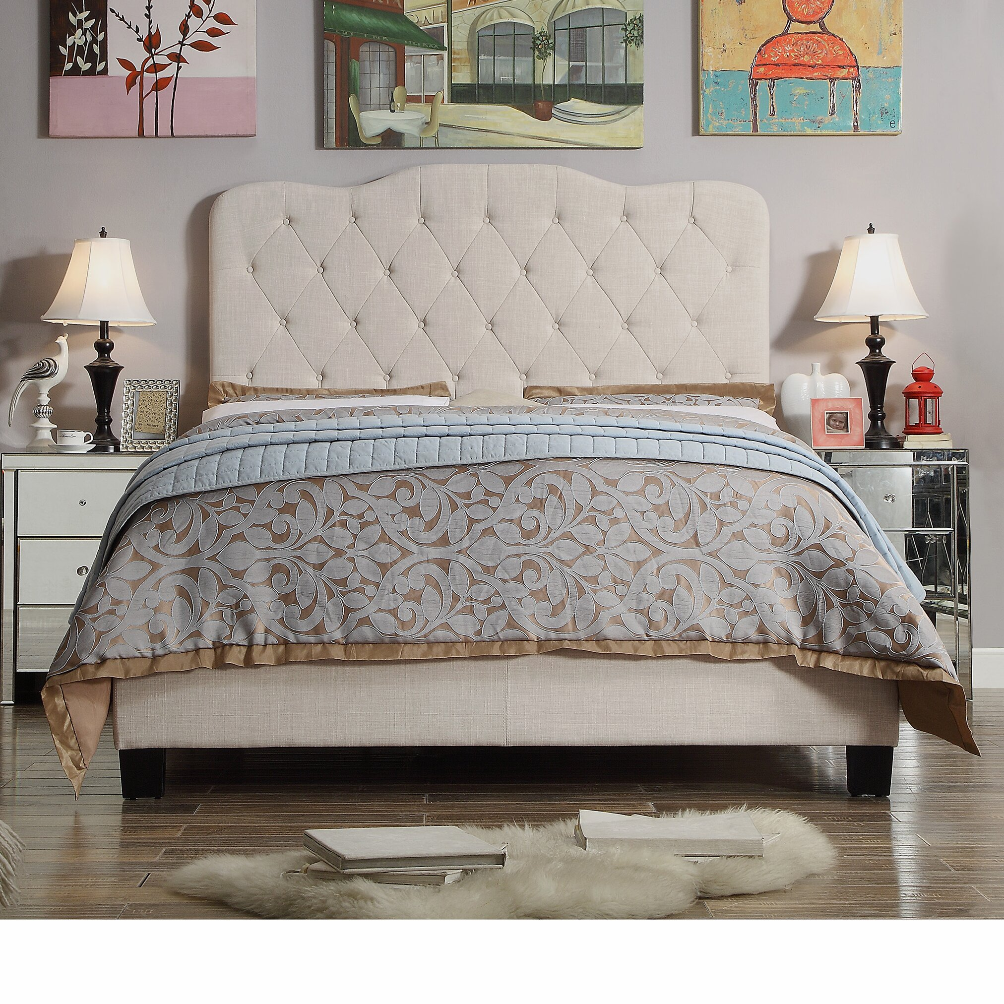 Mulhouse furniture elian upholstered panel bed reviews - Boutique free mulhouse ...