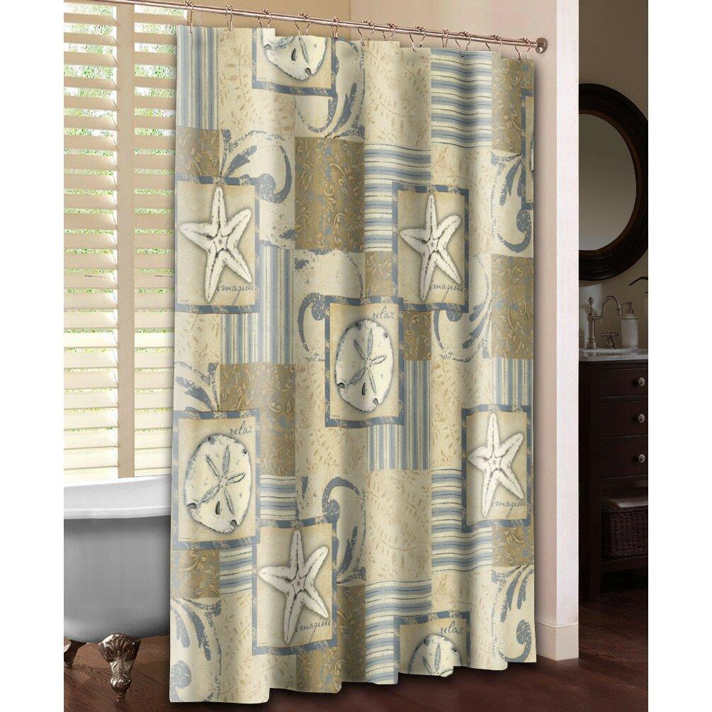 LauralHome Neutral Coastal Shower Curtain | Wayfair