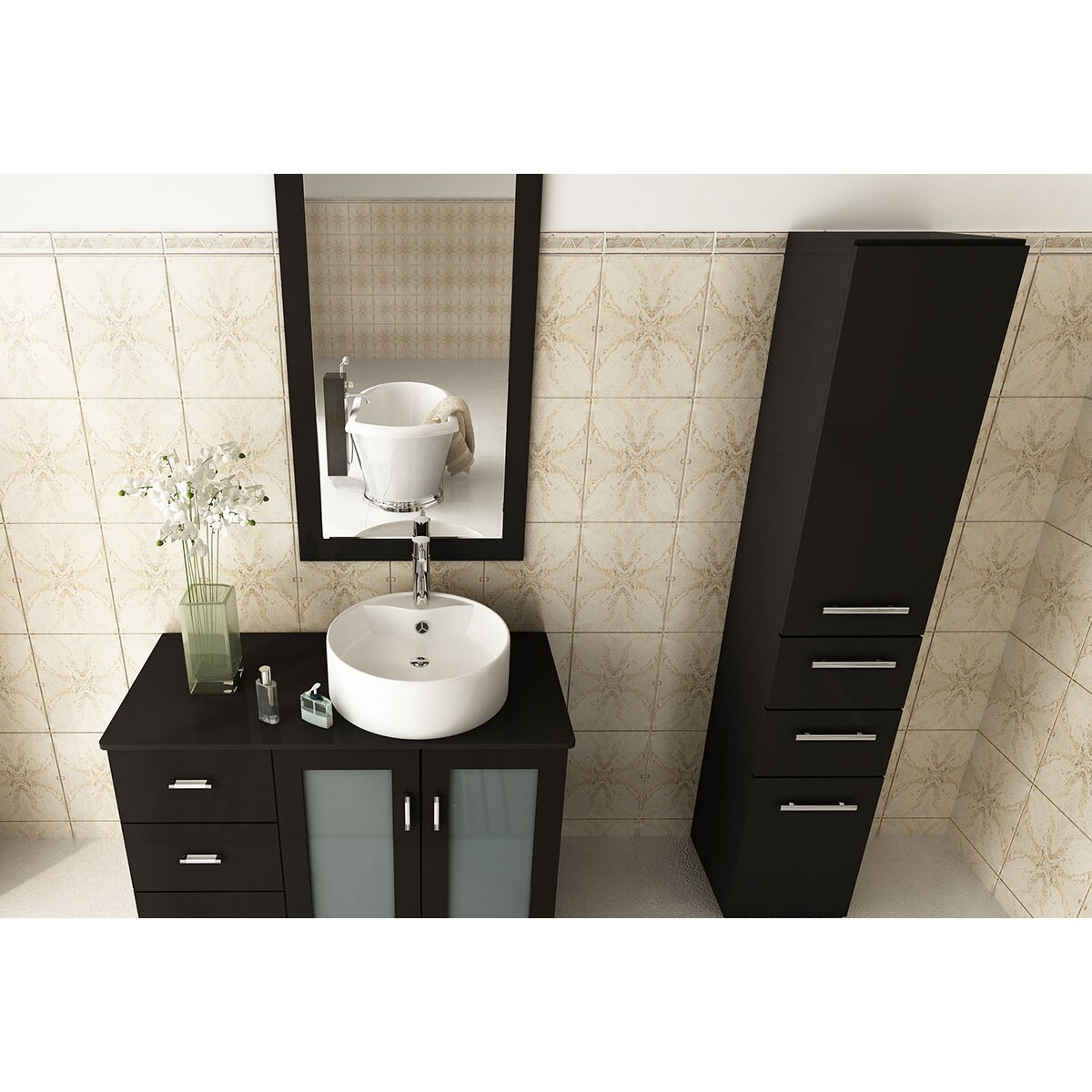 Jwh Living 39 Single Lune Modern Bathroom Vanity Set