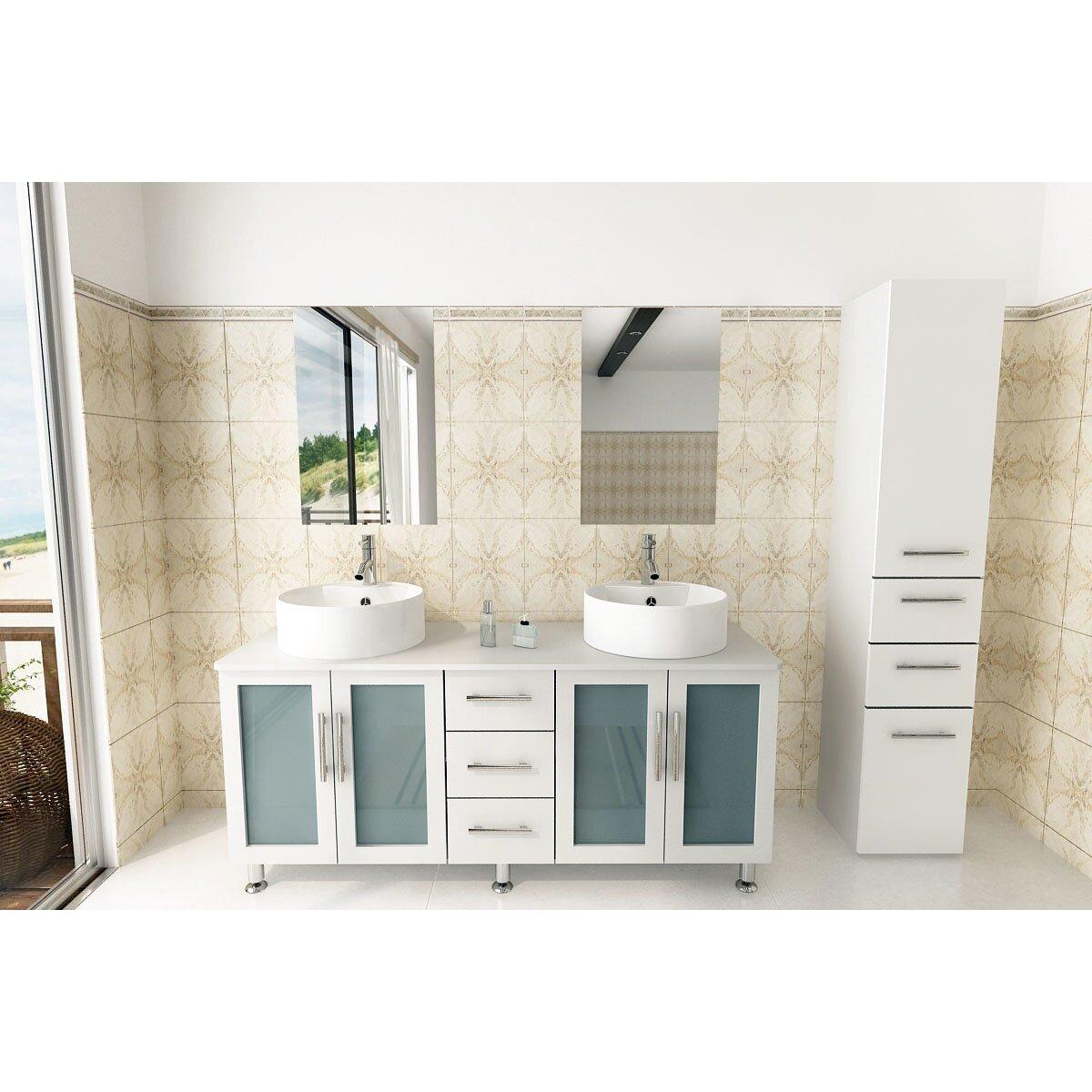 Jwh living lune 59 double vessel modern bathroom vanity - Contemporary bathroom vanity sets ...