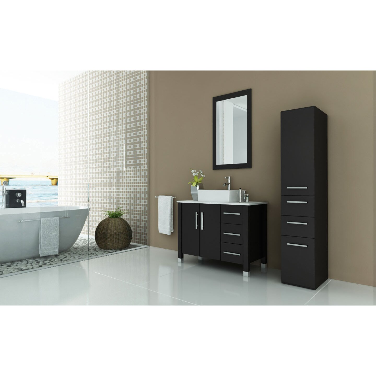 Jwh Living Crater 39 5 Single Modern Bathroom Vanity Set