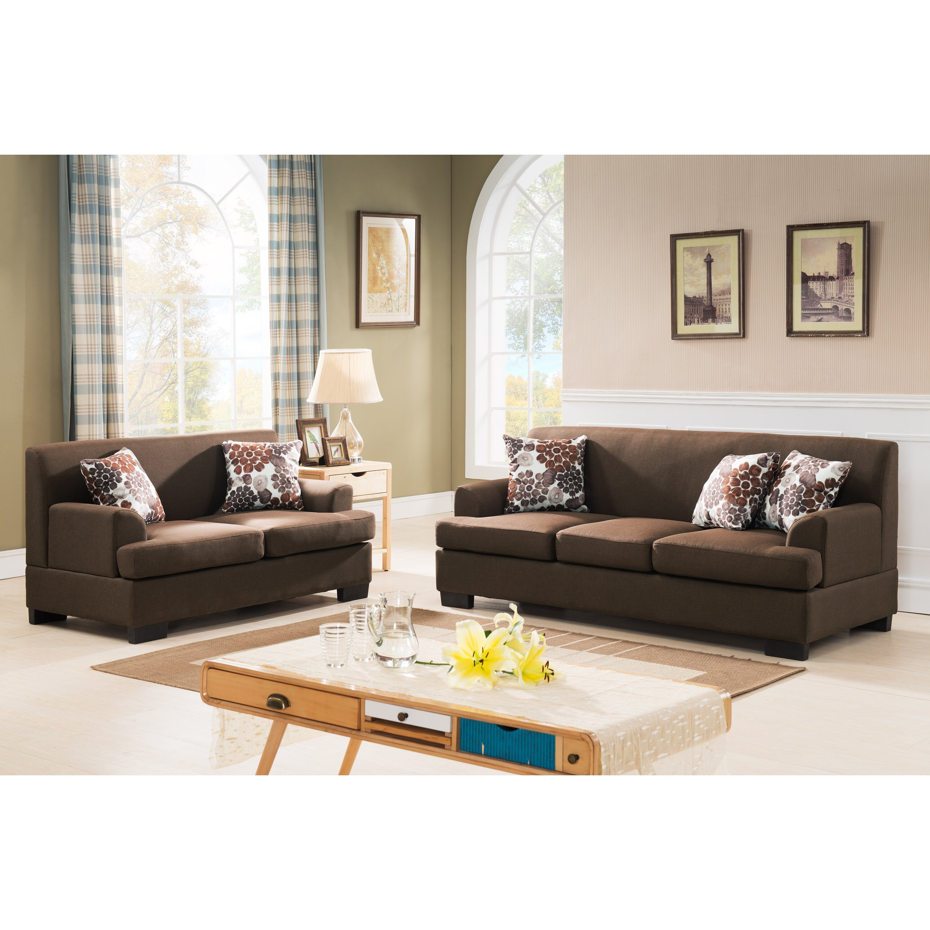 Container modern fabric 2 piece sofa and loveseat set for 2 piece sofa set