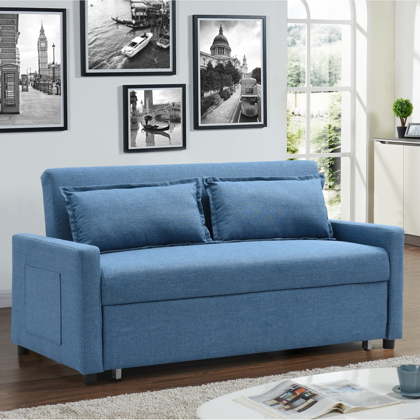 Container Fabric Modern Convertible Sleeper Sofa Reviews
