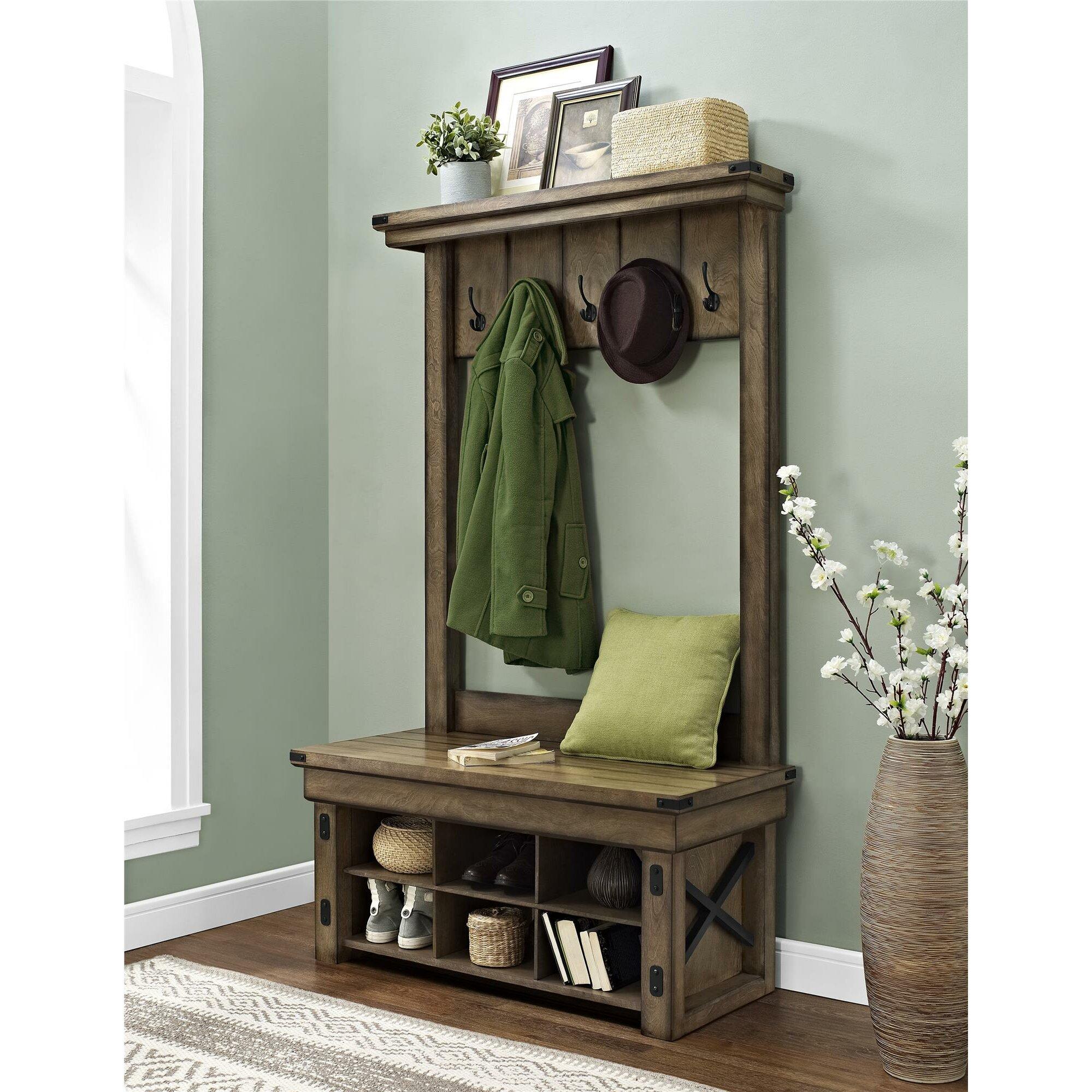 Single hall tree bench Hall Storage Benches, Hallway Furniture, eBay