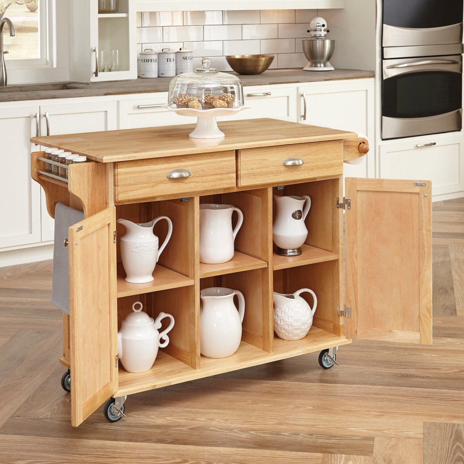 august grove lili kitchen island with wood top reviews wayfair. Black Bedroom Furniture Sets. Home Design Ideas