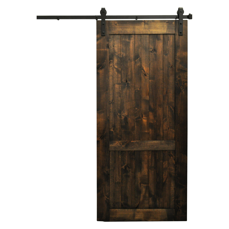 August grove wood 1 panel interior barn door reviews for Wood interior barn doors