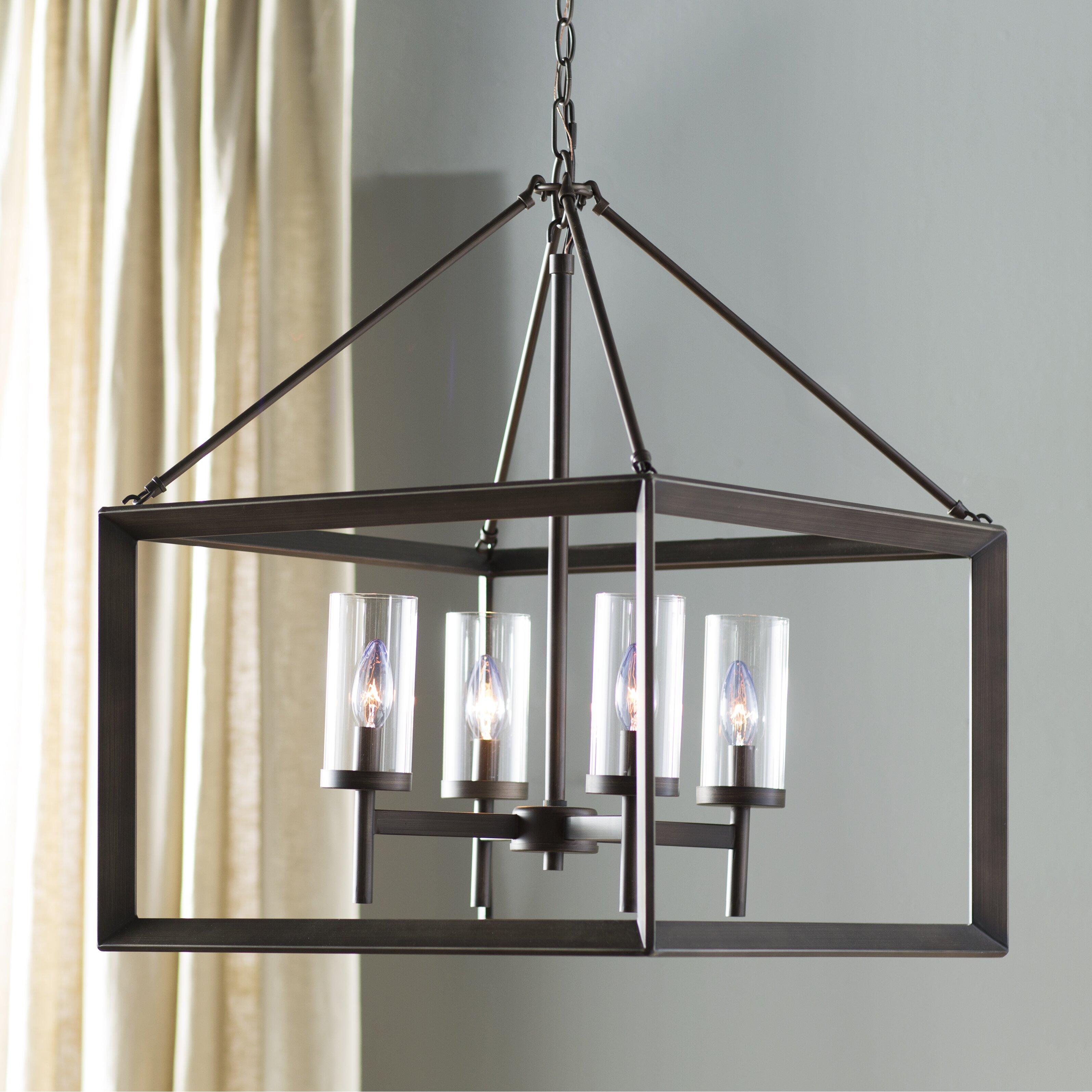 August grove 4 light candle chandelier reviews wayfair for Wayfair industrial lamp