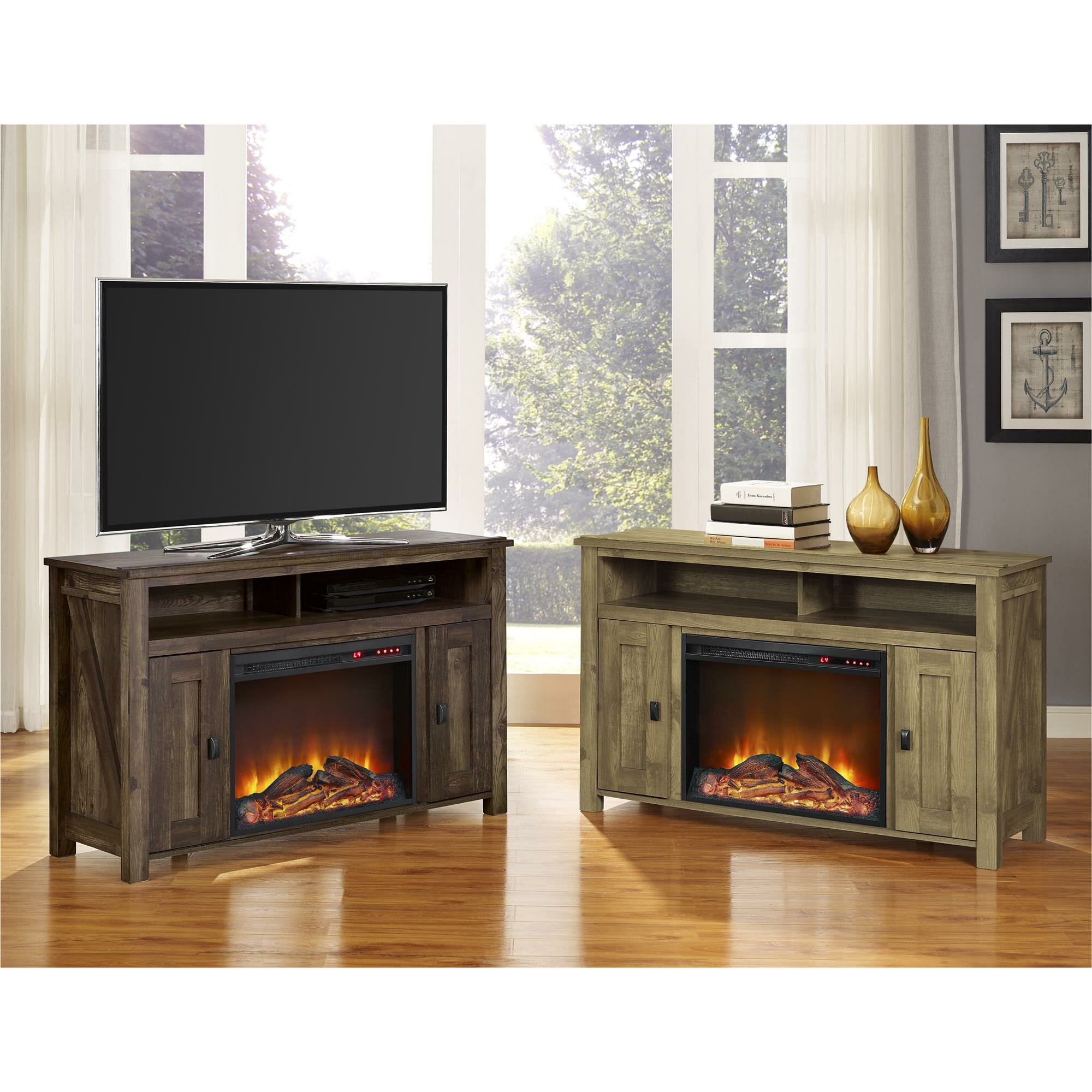 August Grove Gilby Tv Stand With Electric Fireplace Reviews Wayfair