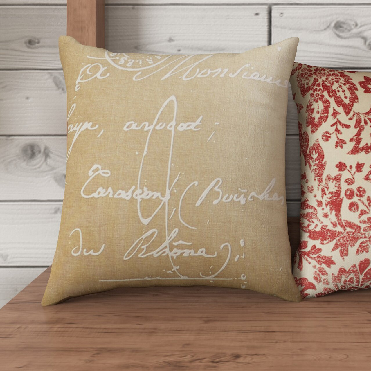 August Grove Evelina Classical French Script Cotton Throw Pillow & Reviews Wayfair