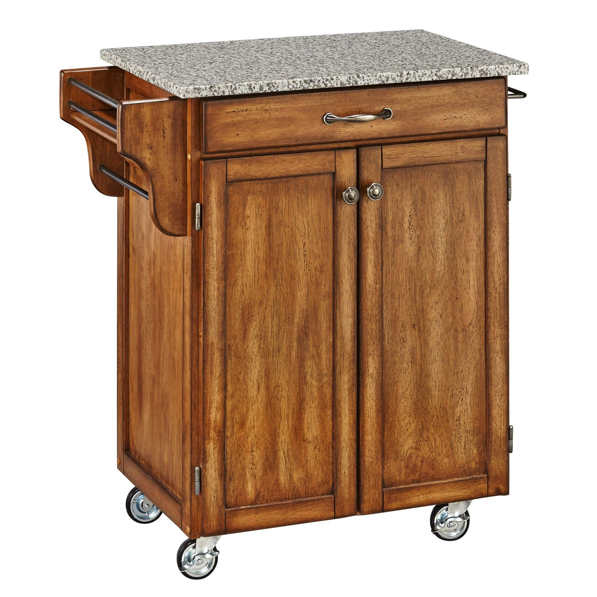 August Grove Savorey Kitchen Cart With Granite Top