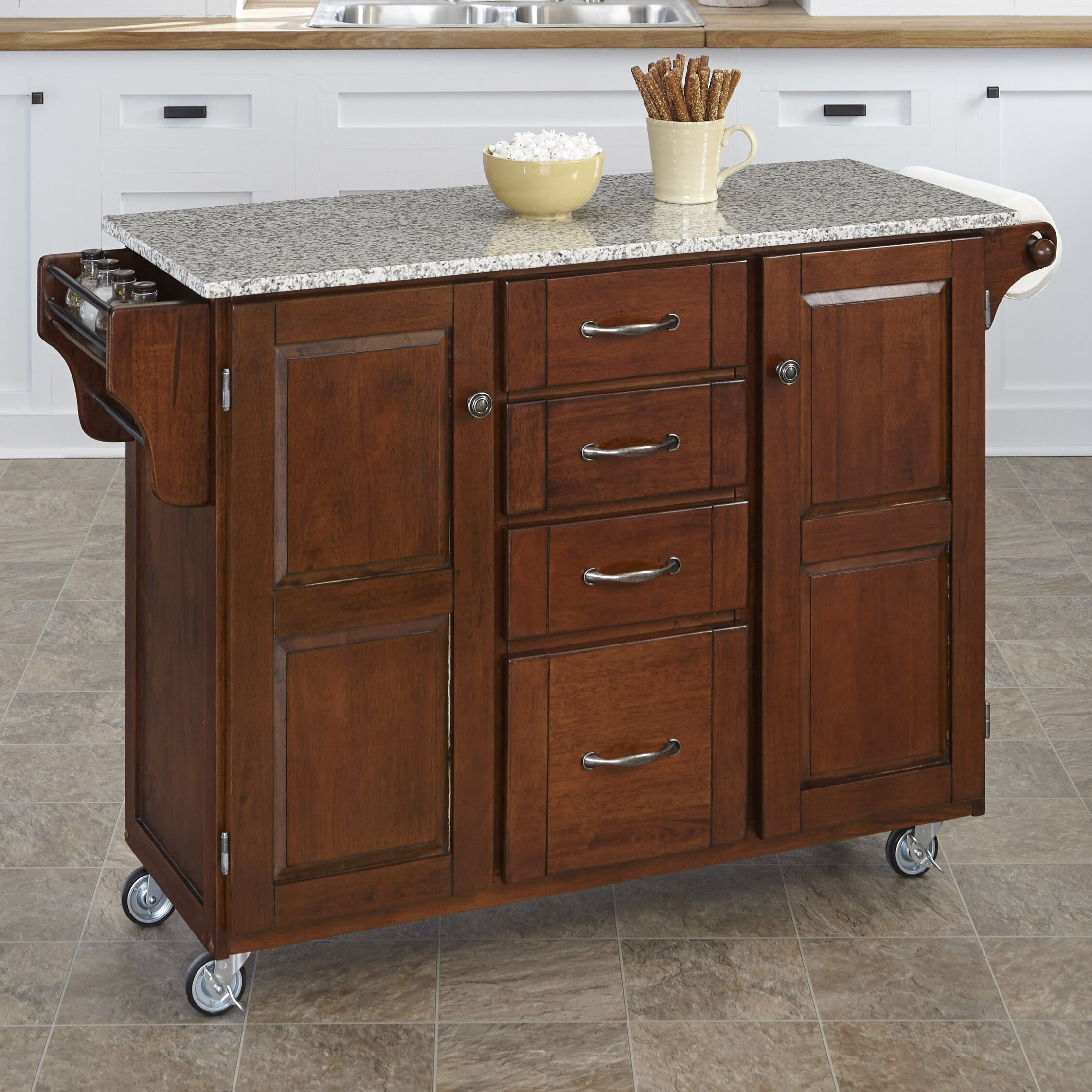 kitchen island cart granite top august grove adelle a cart kitchen island with granite top 24750