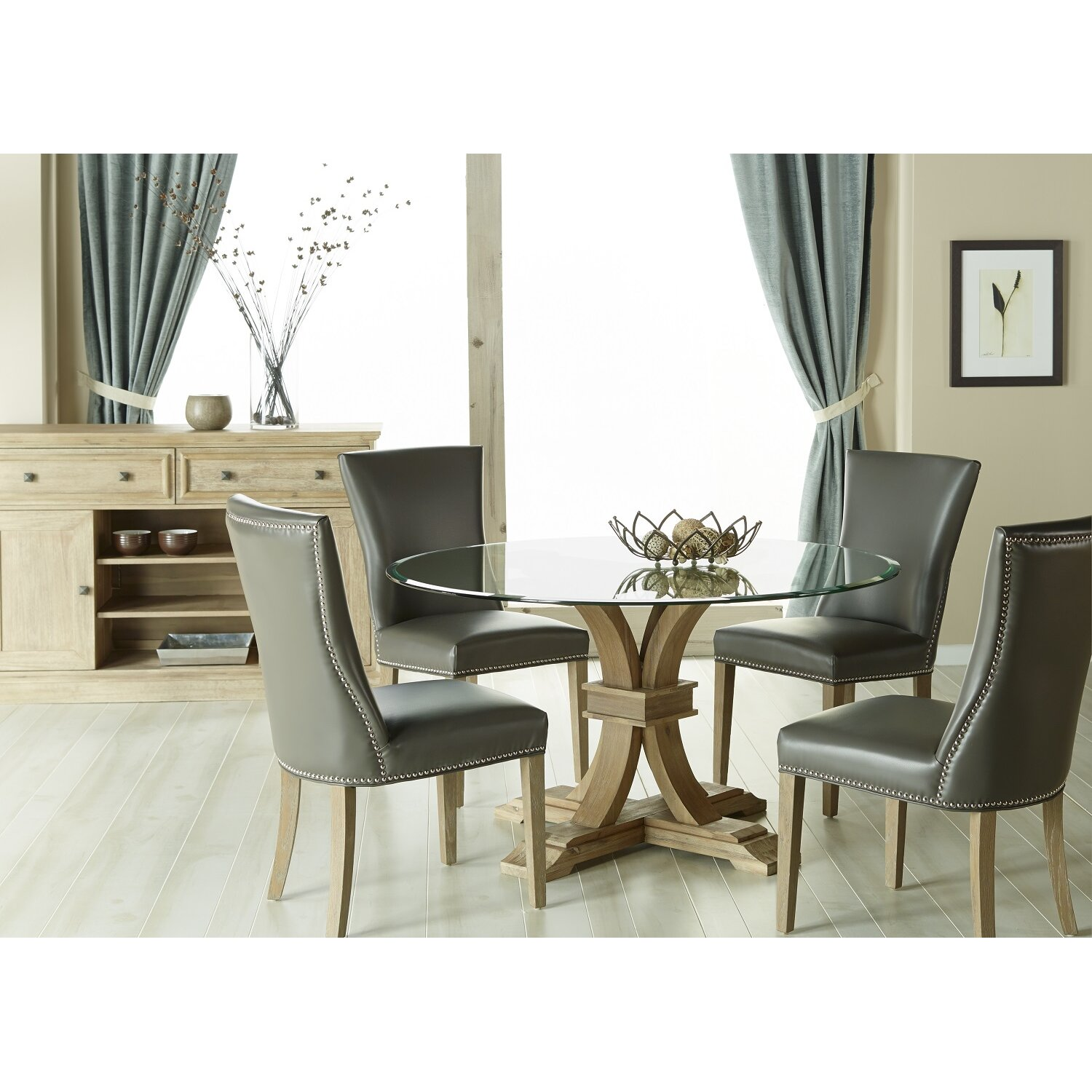 """Round Glass Kitchen Table: One Allium Way Montcerf 54"""" Round Glass Dining Table & Reviews"""