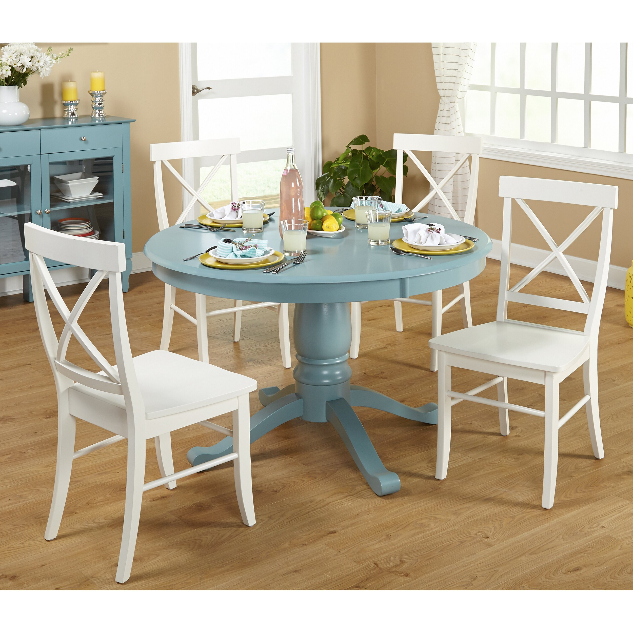Beachcrest Home Stock Island 5 Piece Pedestal Dining Set