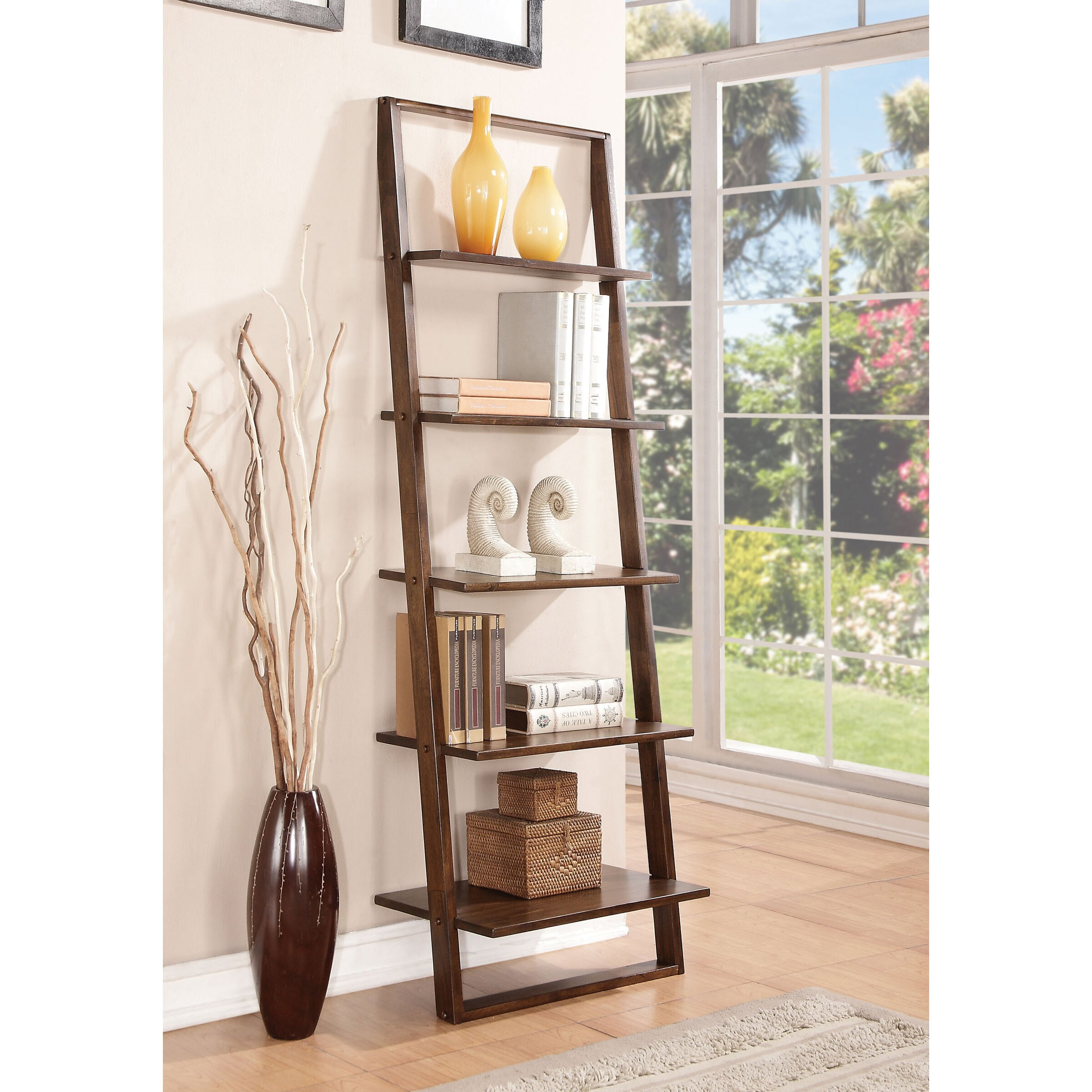 Beachcrest Home Kendall Perrine 72 Leaning Bookcase