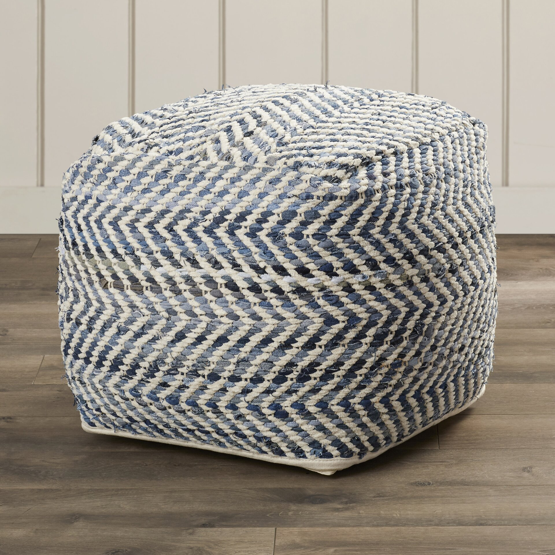 beachcrest home lubec chevron pouf ottoman reviews wayfair. Black Bedroom Furniture Sets. Home Design Ideas