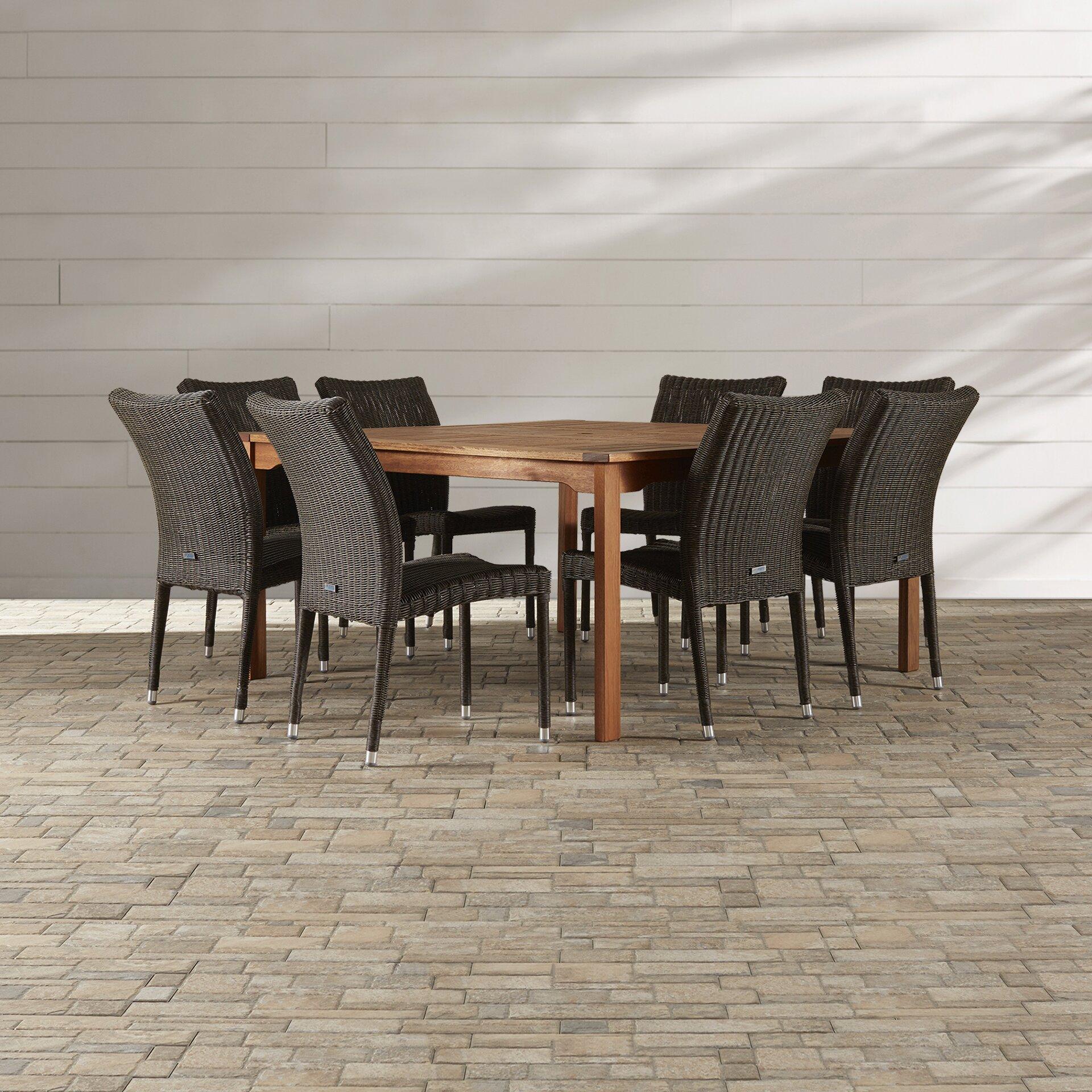 Beachcrest home brunswick 9 piece indoor outdoor dining for Outdoor furniture 9 piece