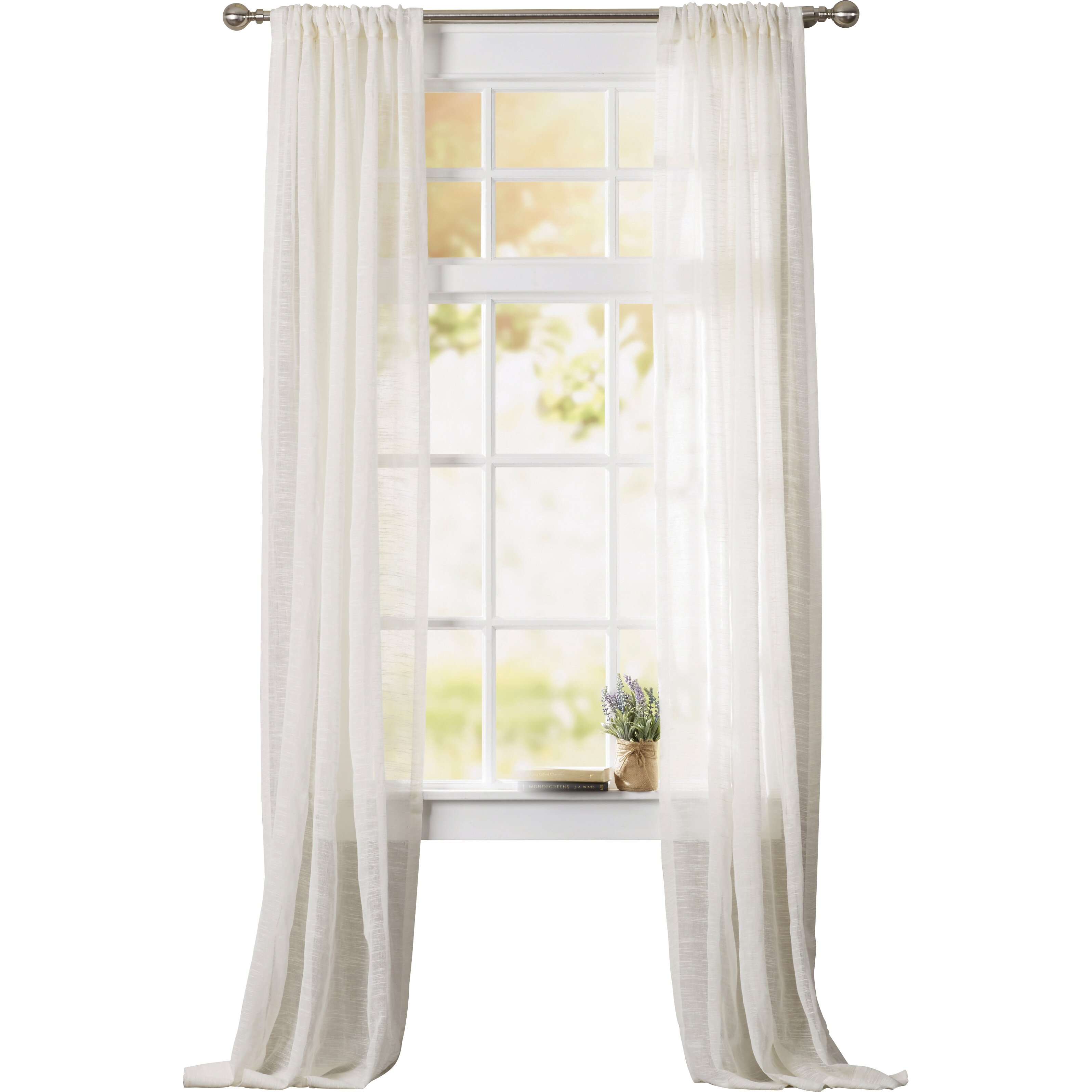 Beachcrest home swansea open weave linen single curtain for 1 furniture way swansea
