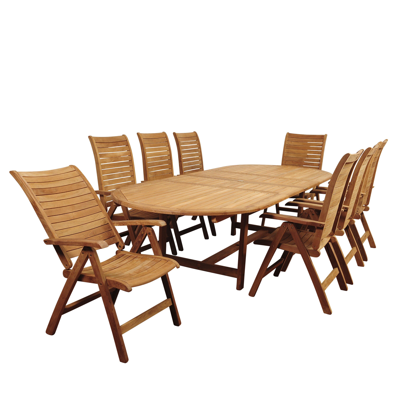 Beachcrest home elsmere 9 piece dining set reviews wayfair for Outdoor furniture 9 piece