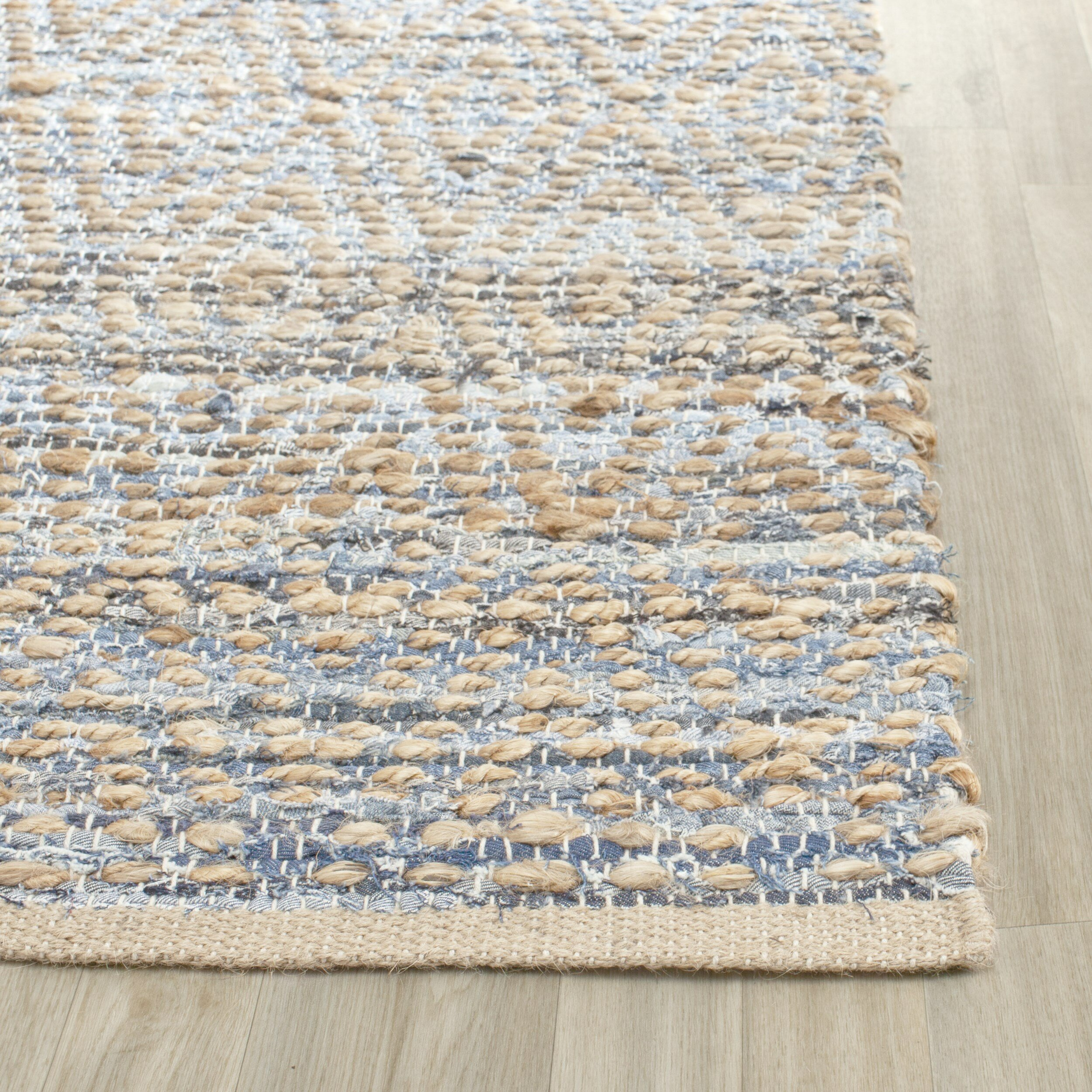 Woven Kitchen Rugs: Beachcrest Home Palm Coast Hand-Woven Natural/Blue Area