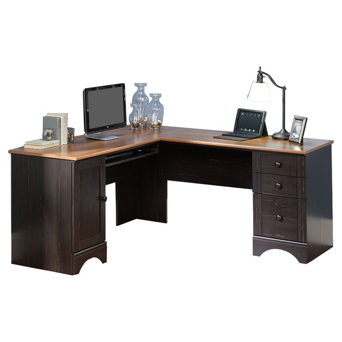 Aspenhome Warm Cherry Executive Modular Home Office: Beachcrest Home Pinellas Corner Executive Desk With