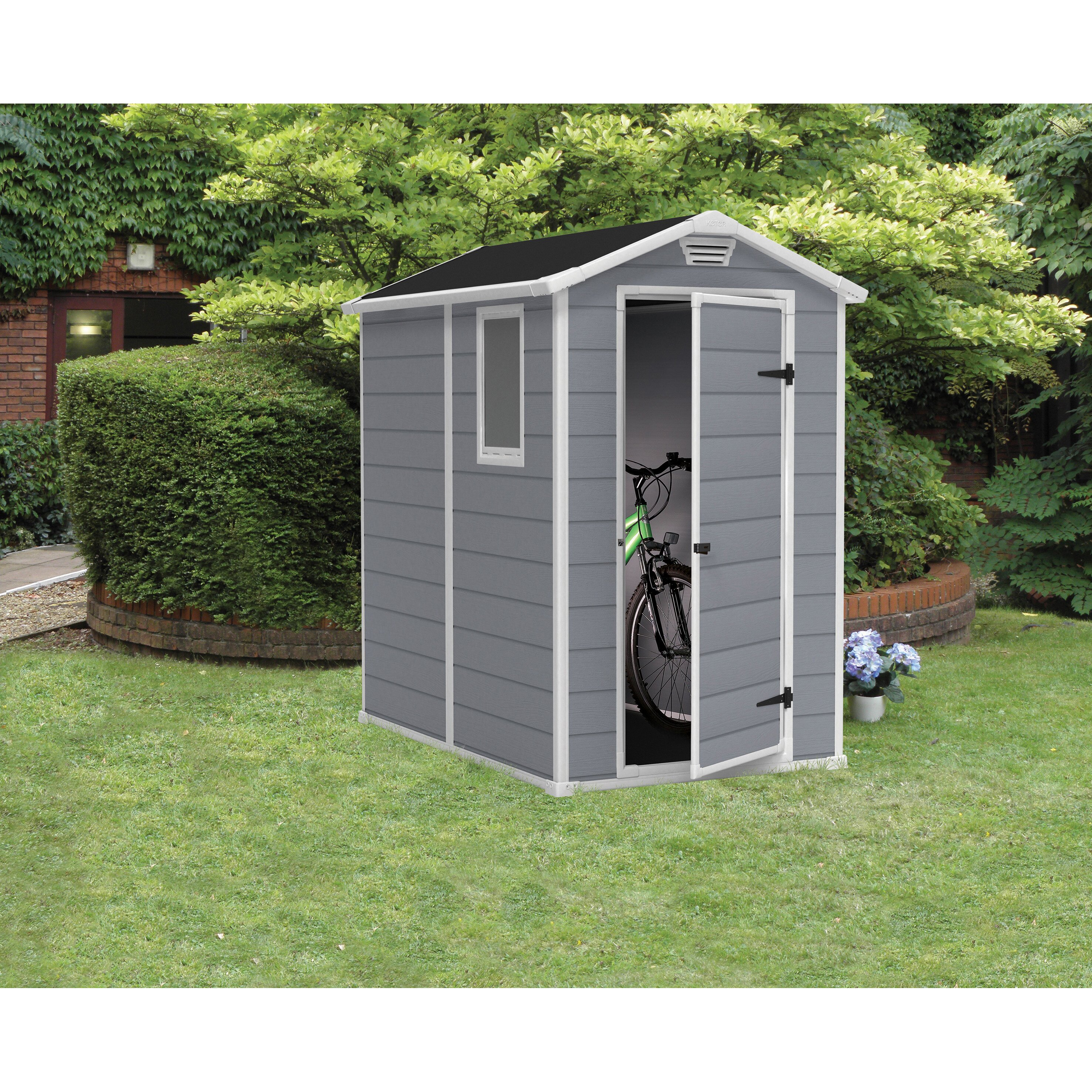 Beachcrest home steinhatchee 4 ft w x 6 ft d plastic for Yard storage shed