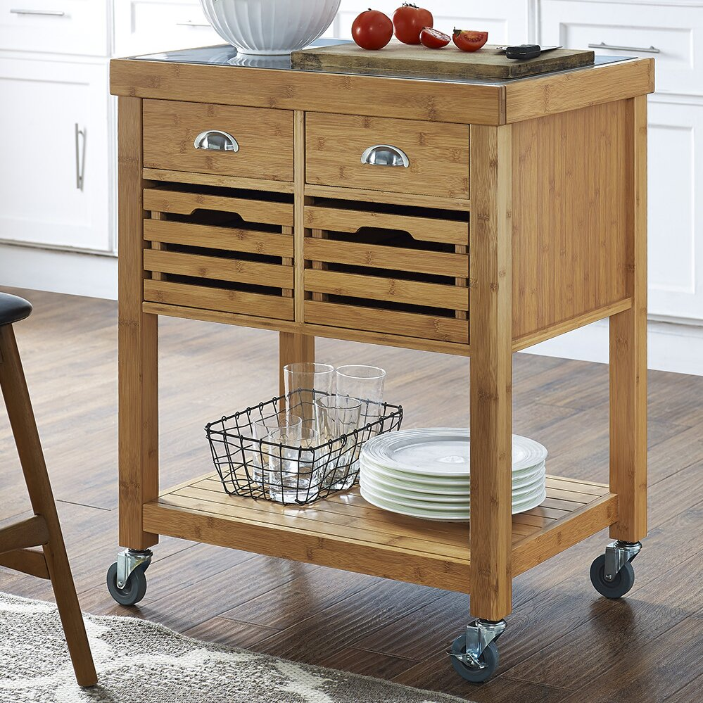 Cocina Kitchen Cart With Stainless Steel Top: Loon Peak Beartown Kitchen Cart With Stainless Steel Top
