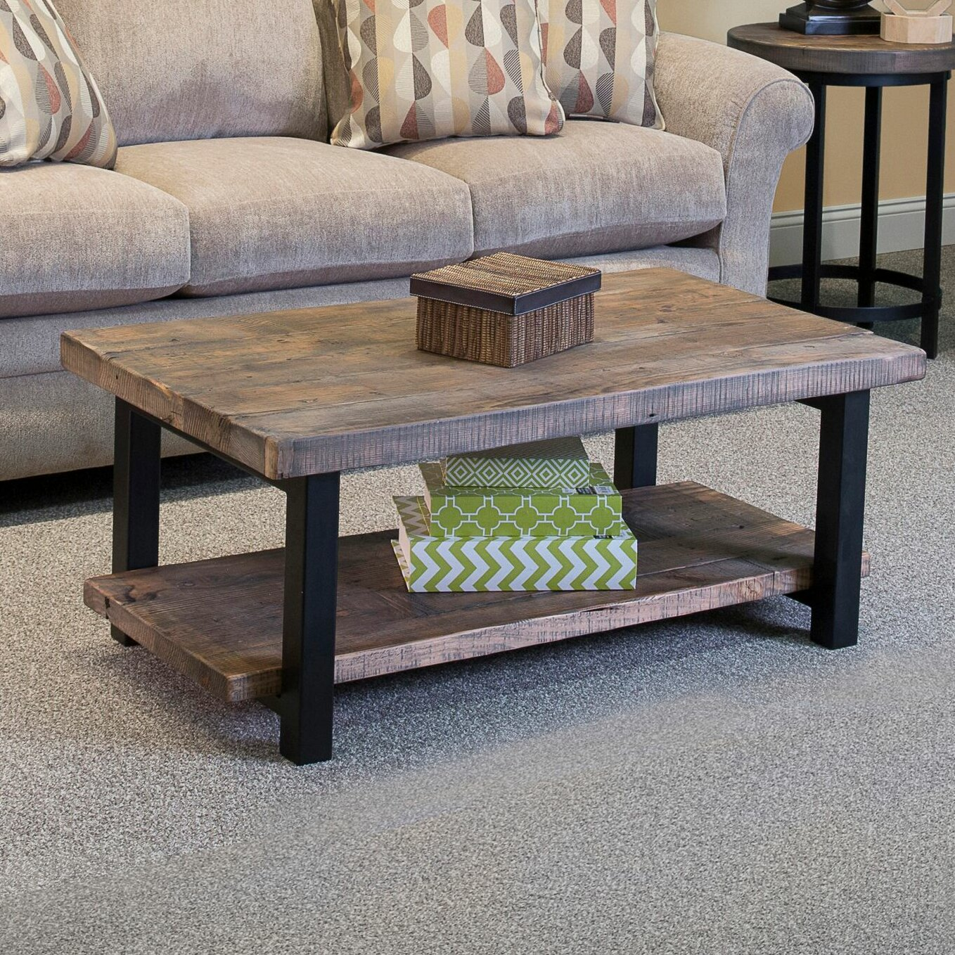 Loon peak somers 42 wood metal coffee table reviews for Wooden coffee tables images