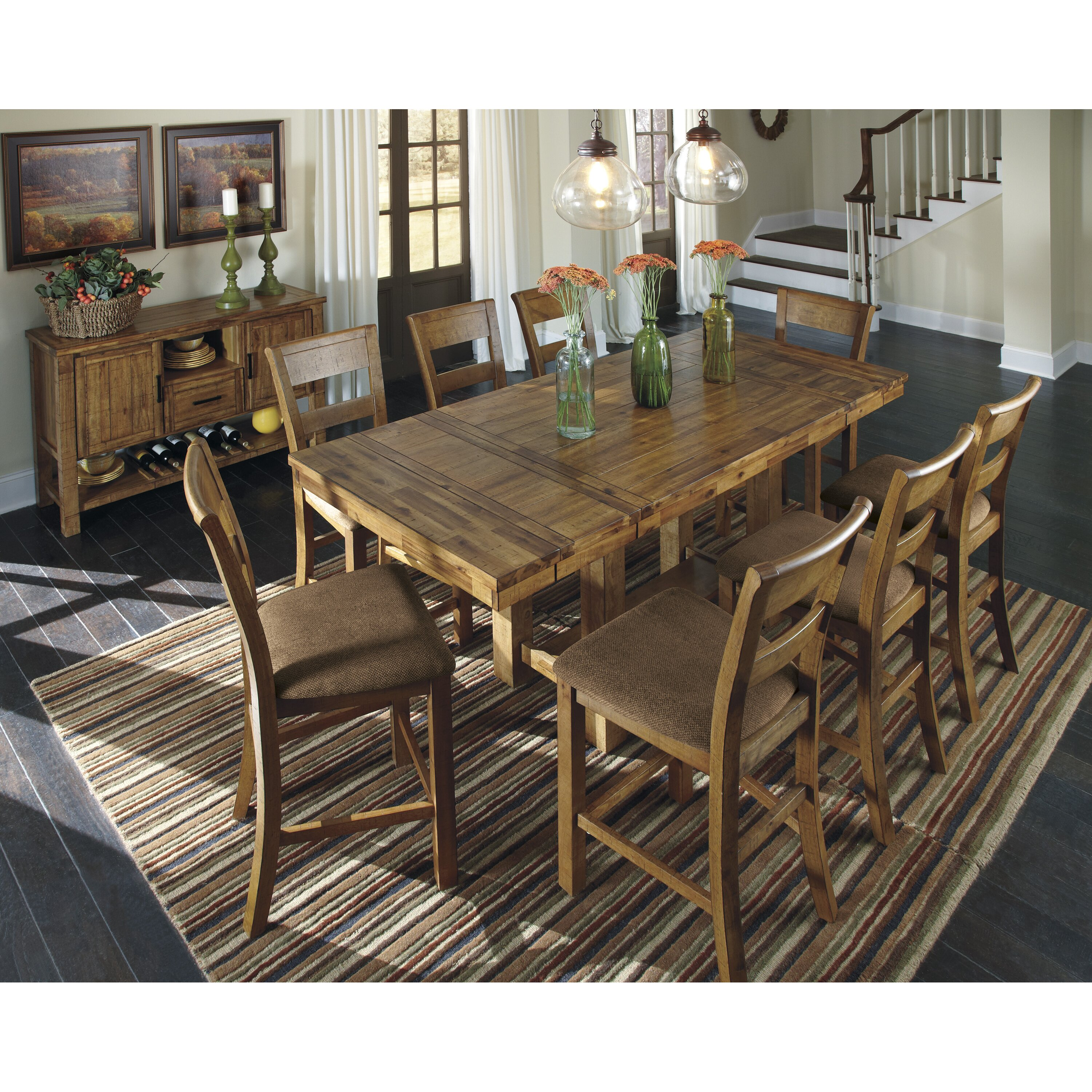 Loon peak cowley counter height extendable dining table for Counter height extendable dining table