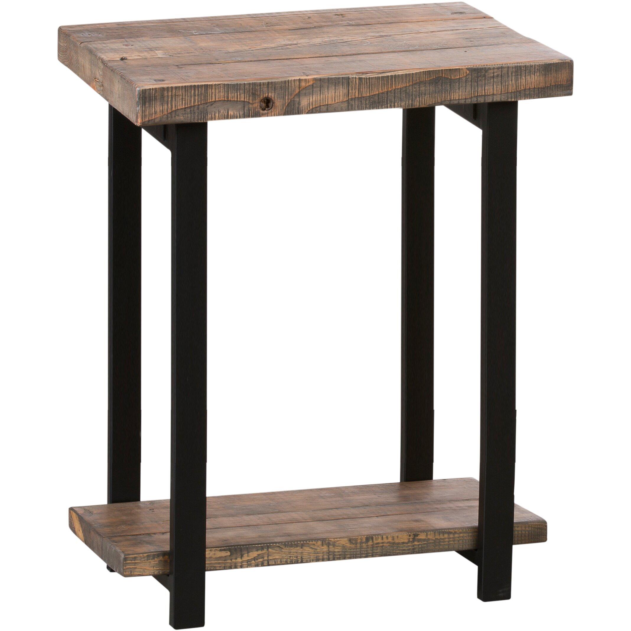 Loon peak somers reclaimed wood metal end table reviews for Reclaimed wood and metal table