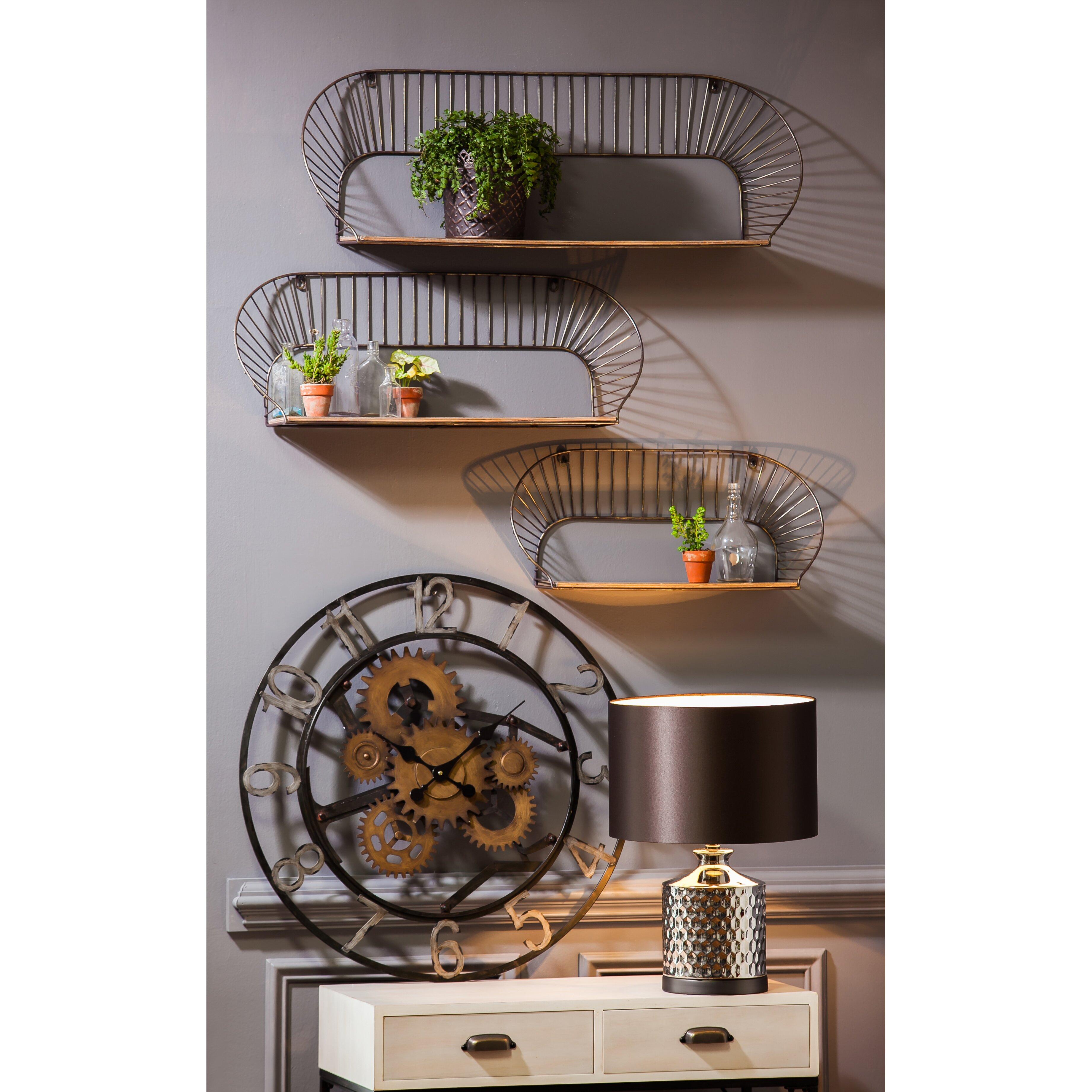 Trent Austin Design 3 Piece Metal And Wood Wall Shelf Set
