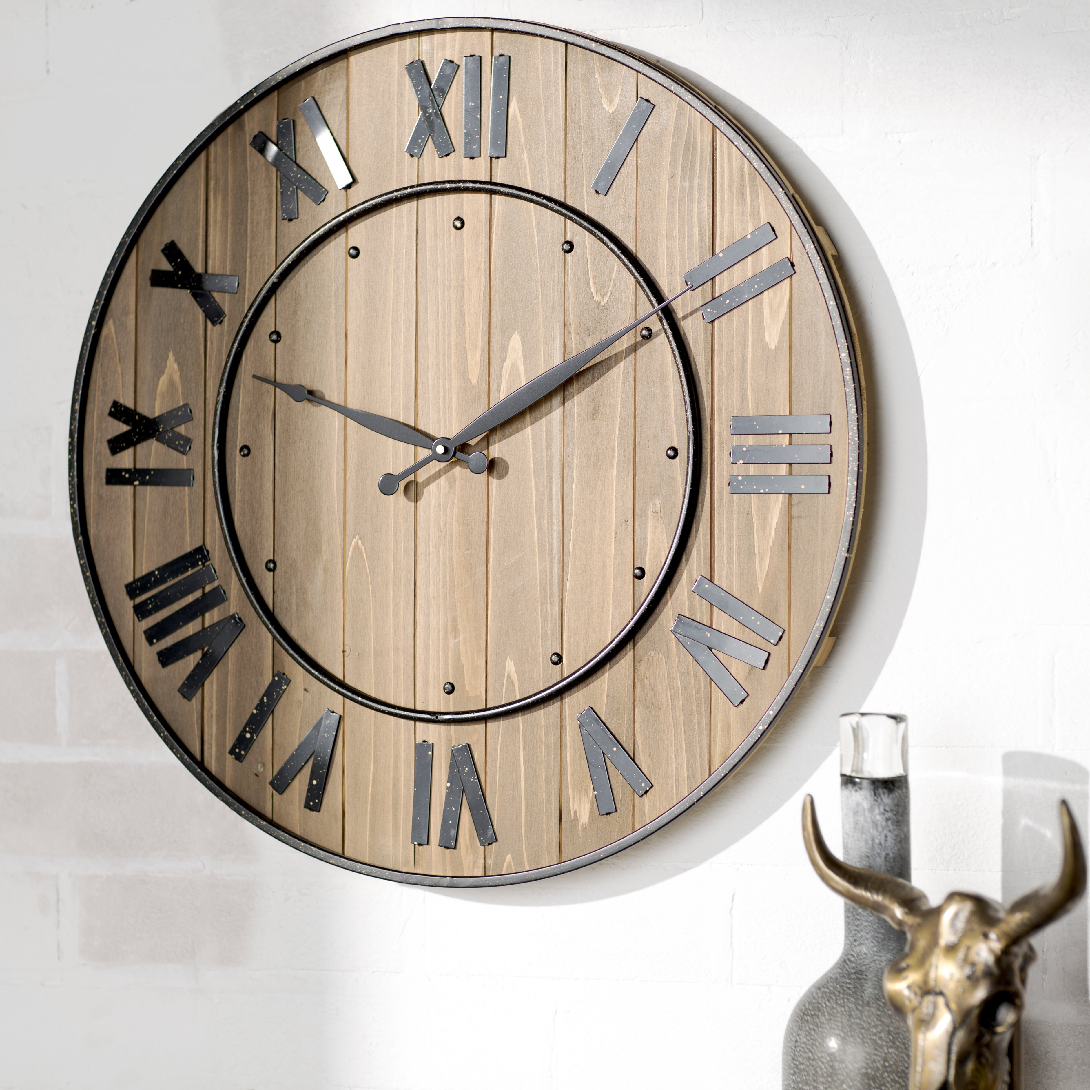 Trent austin design northrop wine barrel 24 wall clock reviews - Extra large digital wall clock ...