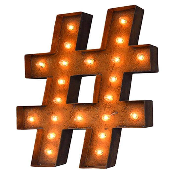 trent austin design hashtag steel marquee sign wall
