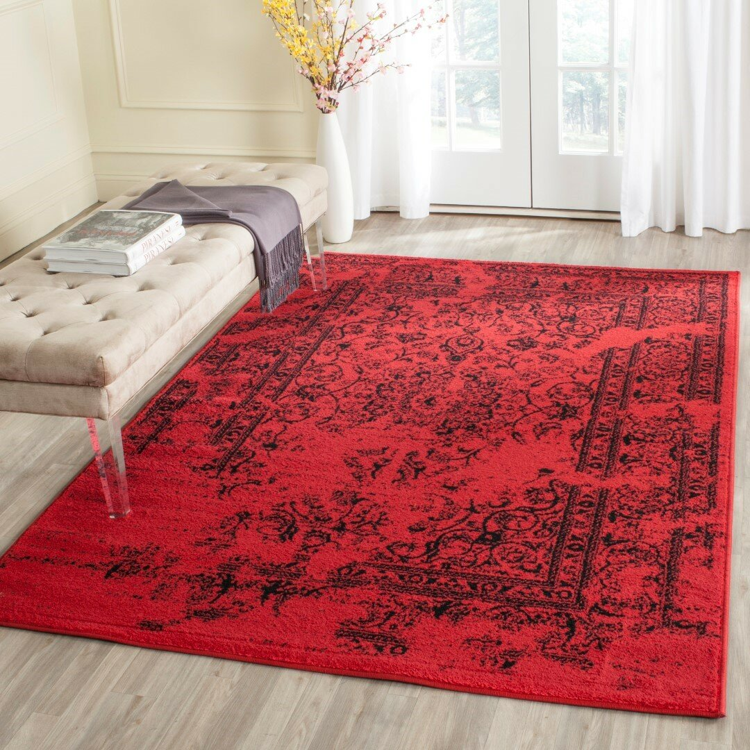 Trent austin design costa mesa red black area rug for Large red area rugs
