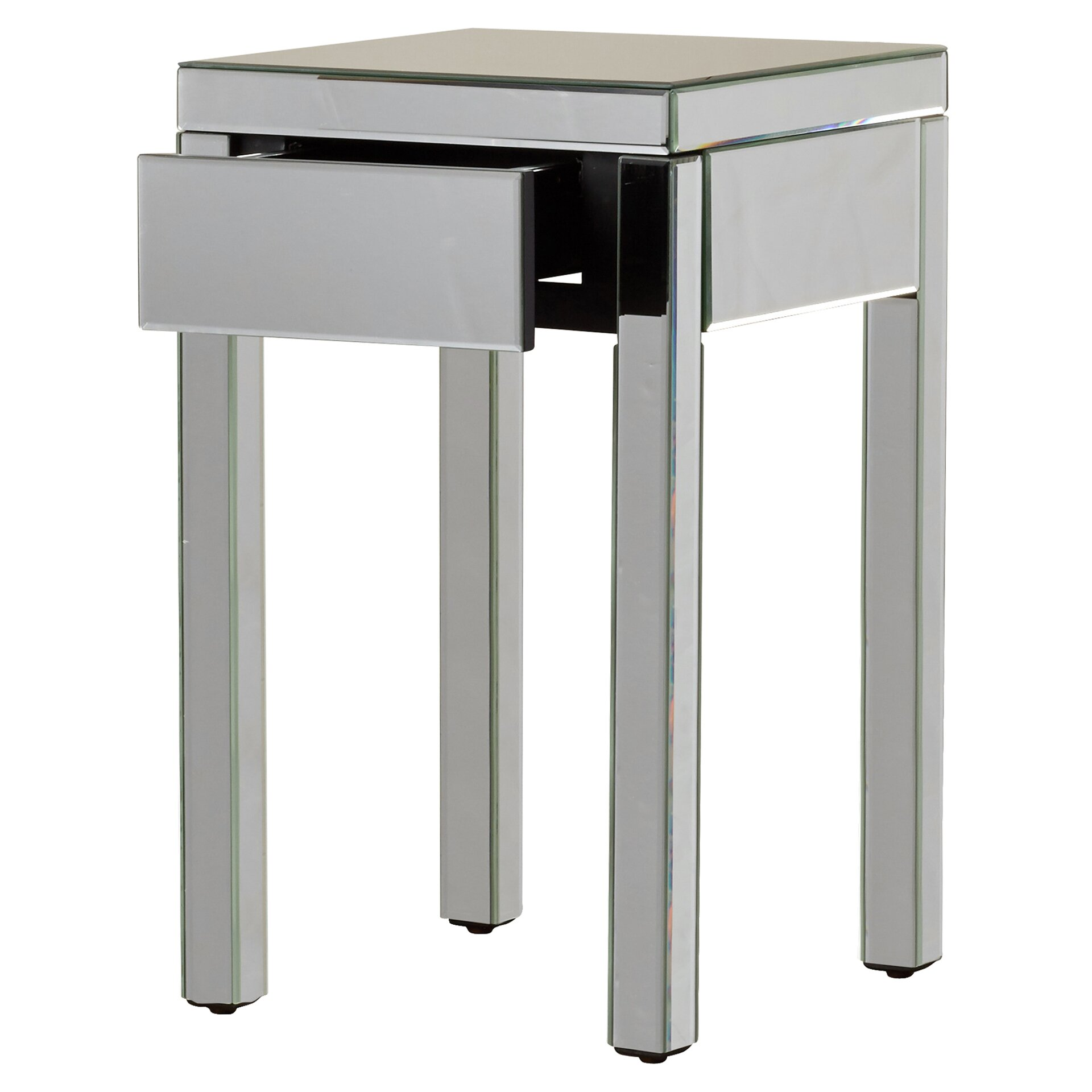 House of hampton valentina mirrored 1 drawer end table for End tables with drawers