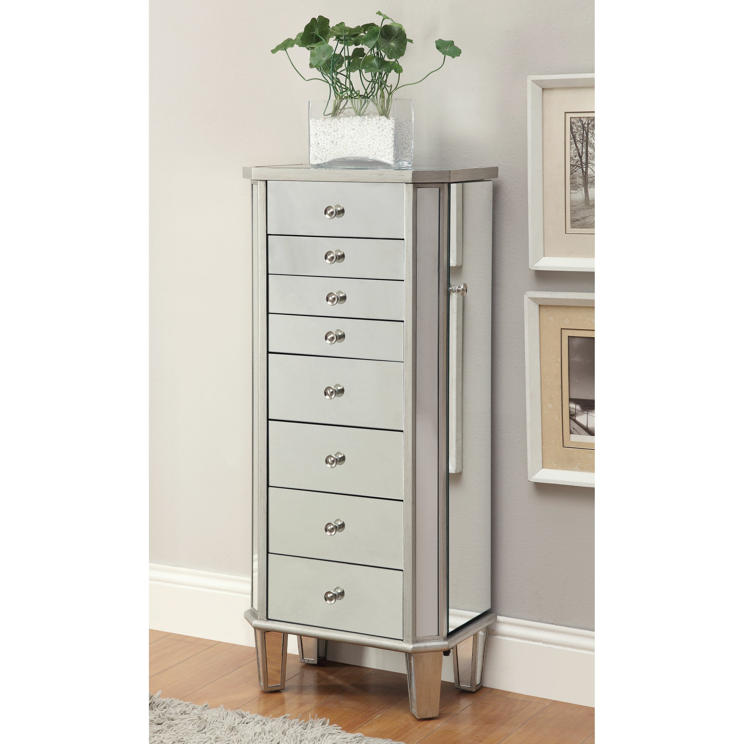House of hampton rothwell jewelry armoire with flip top for Mirror jewelry cabinet