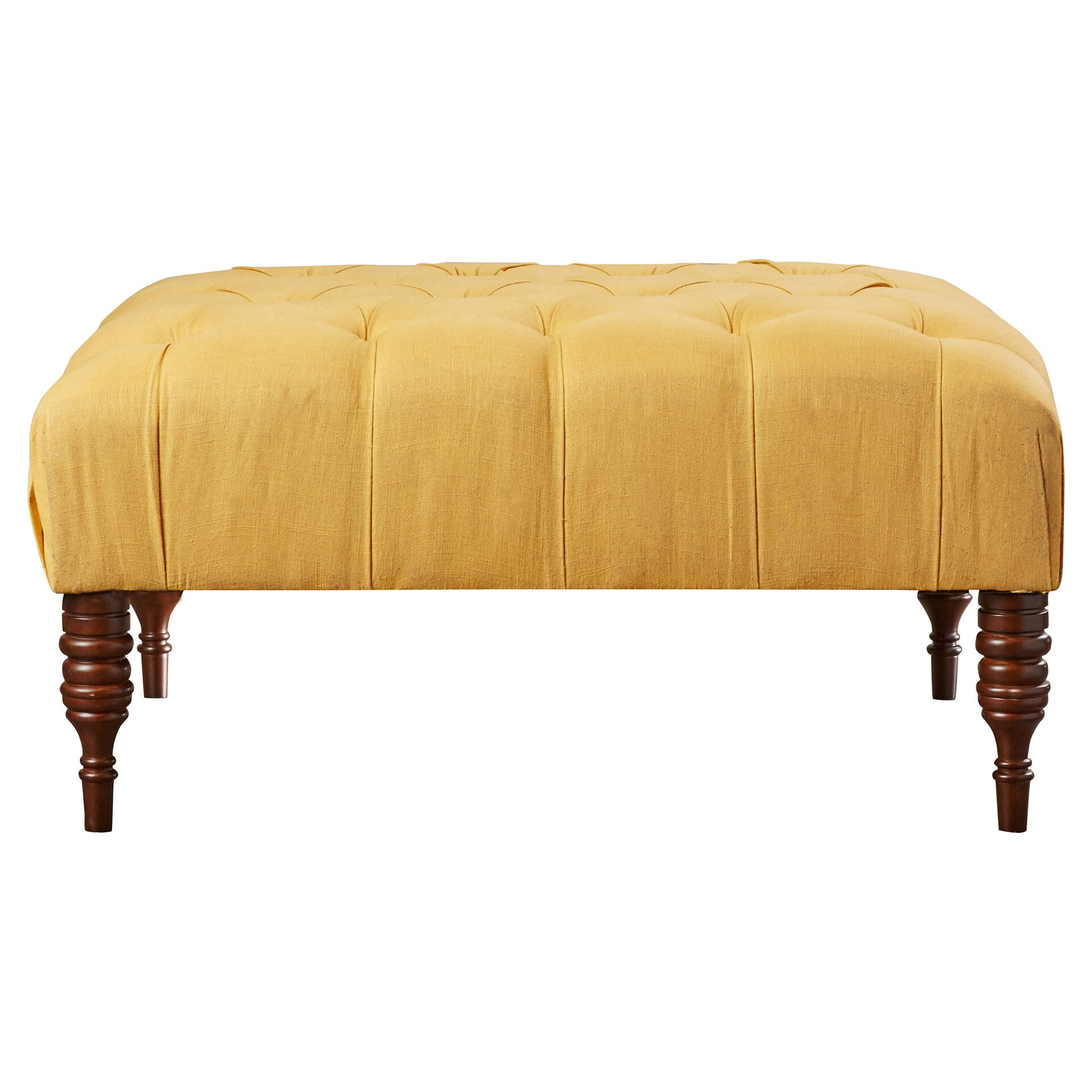 House Of Hampton Henderson Linen Tufted Cocktail Ottoman
