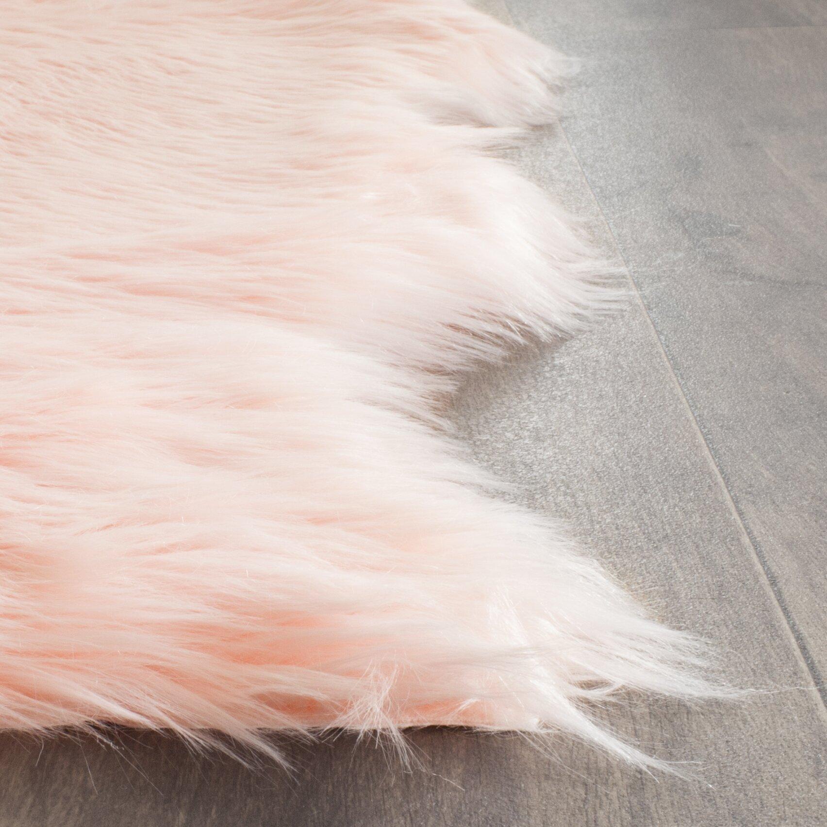 House Of Hampton Berman Faux Sheep Skin Pink Area Rug