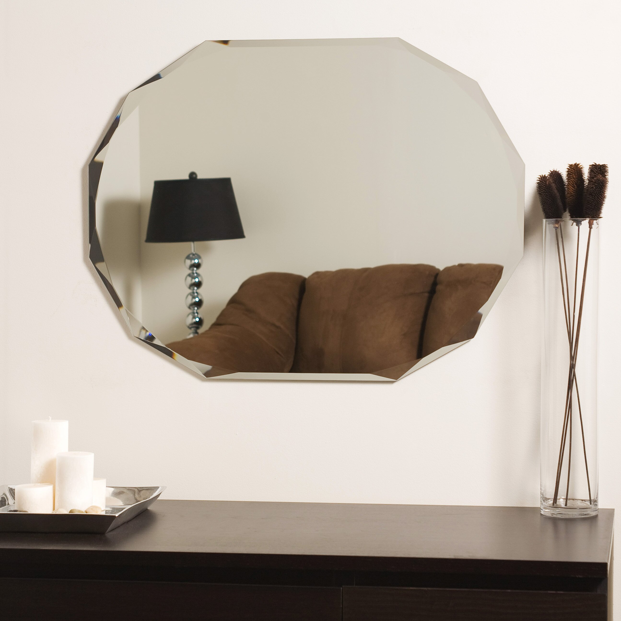 house of hampton frameless diamond wall mirror reviews