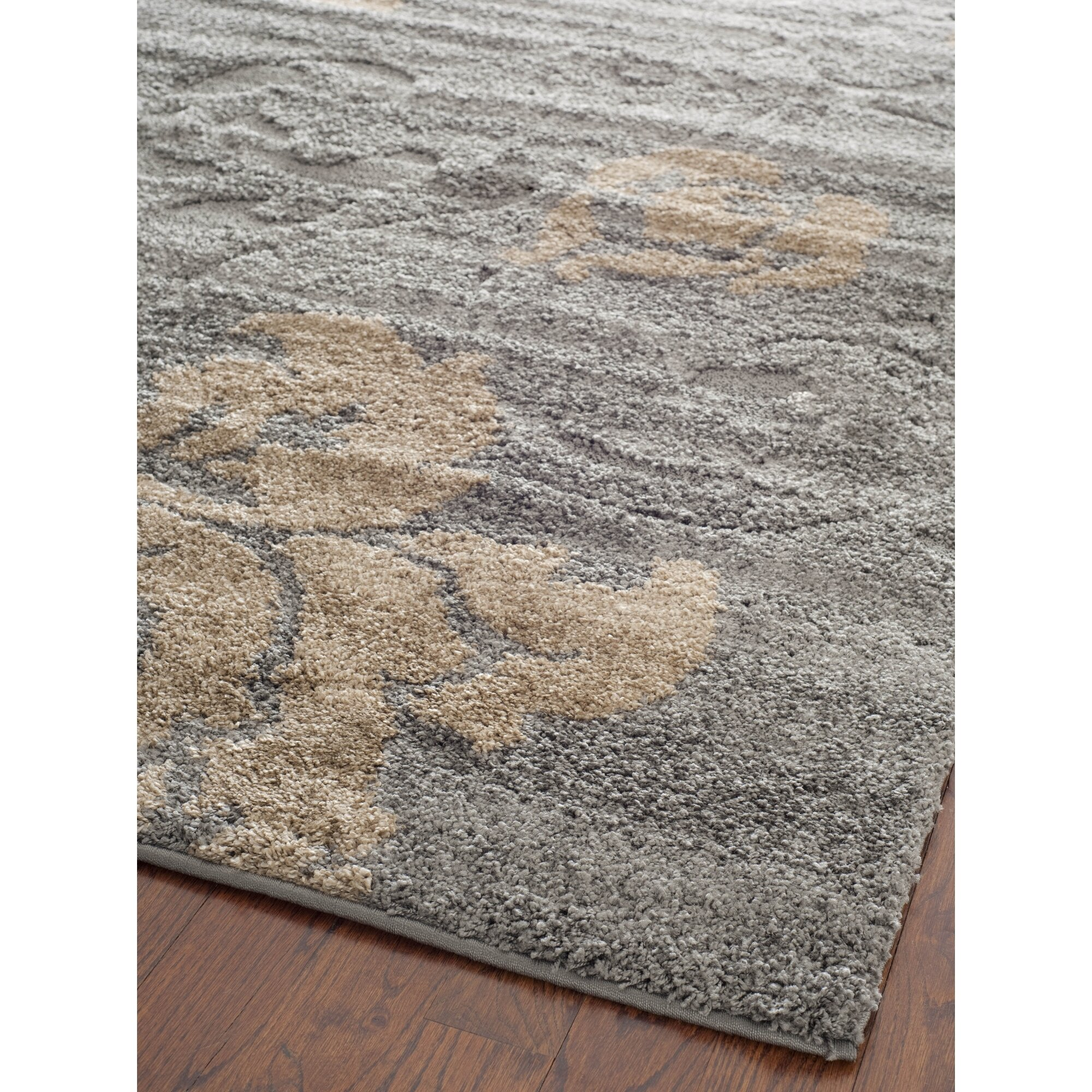 House of hampton reubens shag grey beige area rug for Grey and tan rug