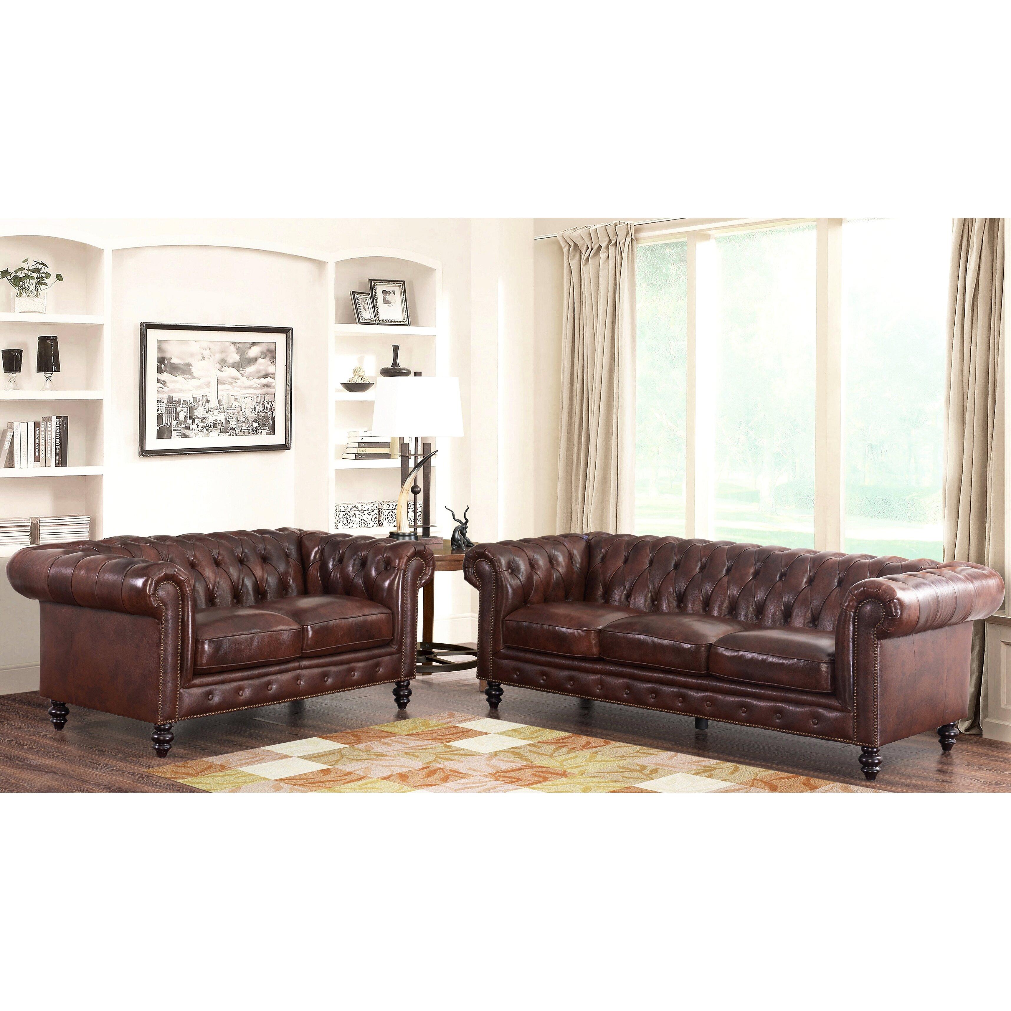 House Of Hampton Tunbridge Wells Top Grain Leather Sofa