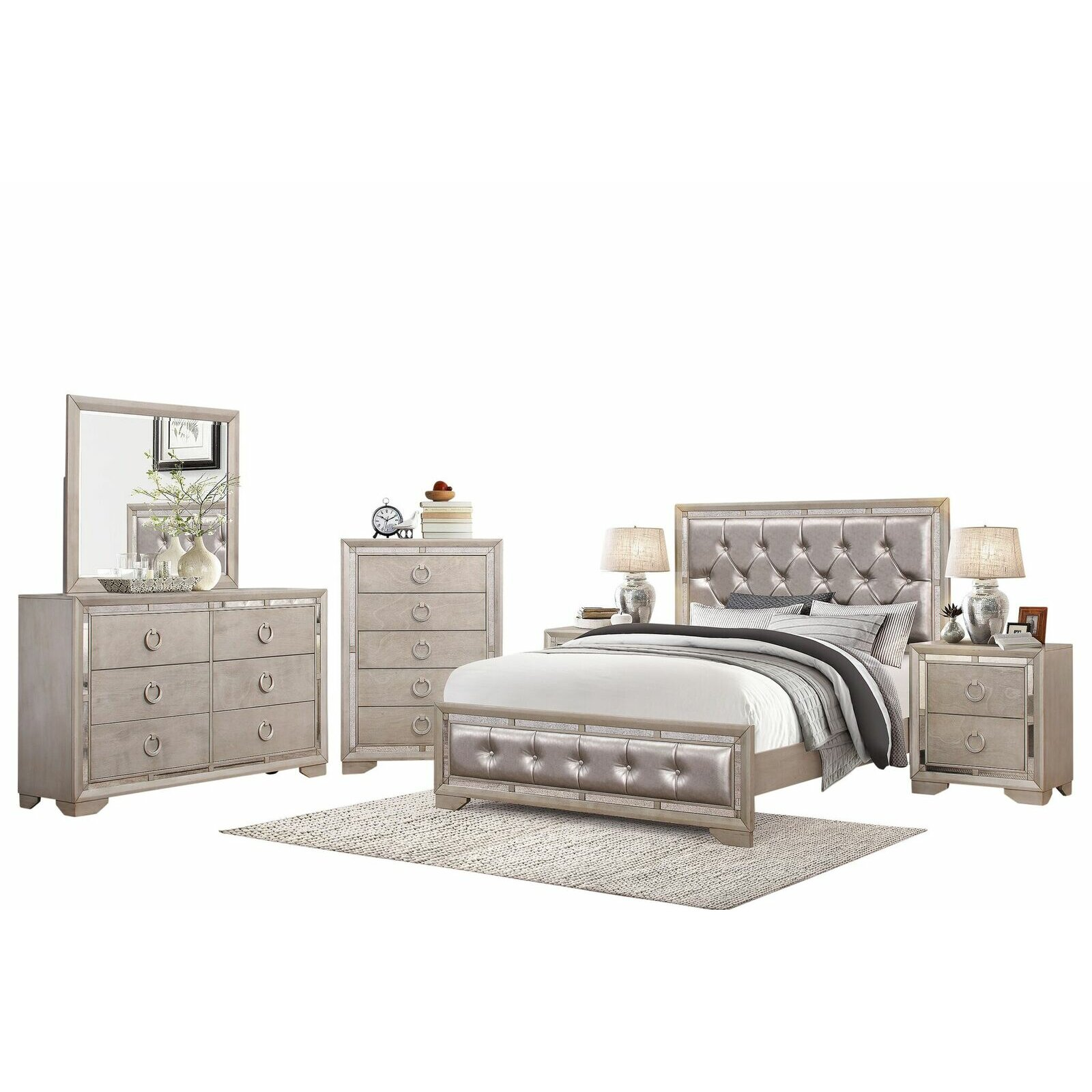 House of hampton june panel 6 piece bedroom set for Bedroom 6 piece set
