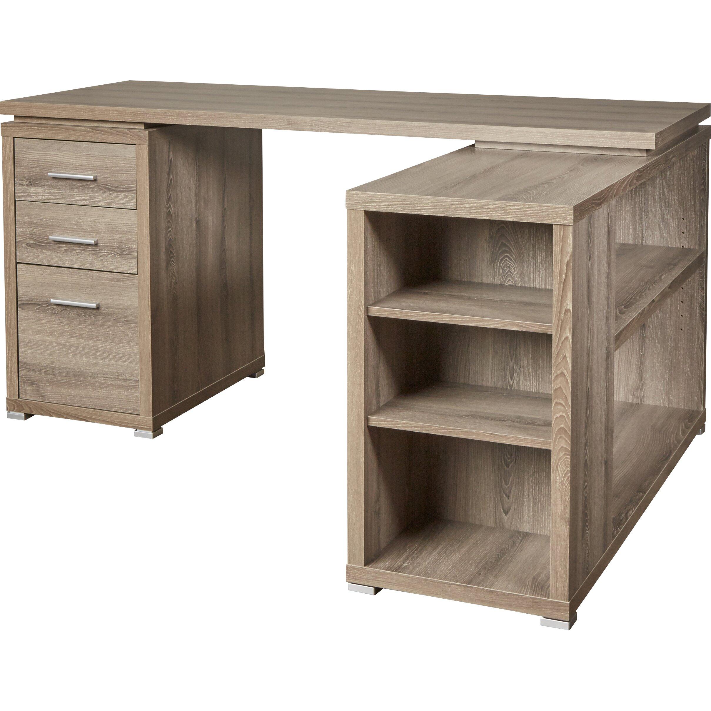 House Of Hampton Charisse L Shaped 3 Drawer Corner Desk