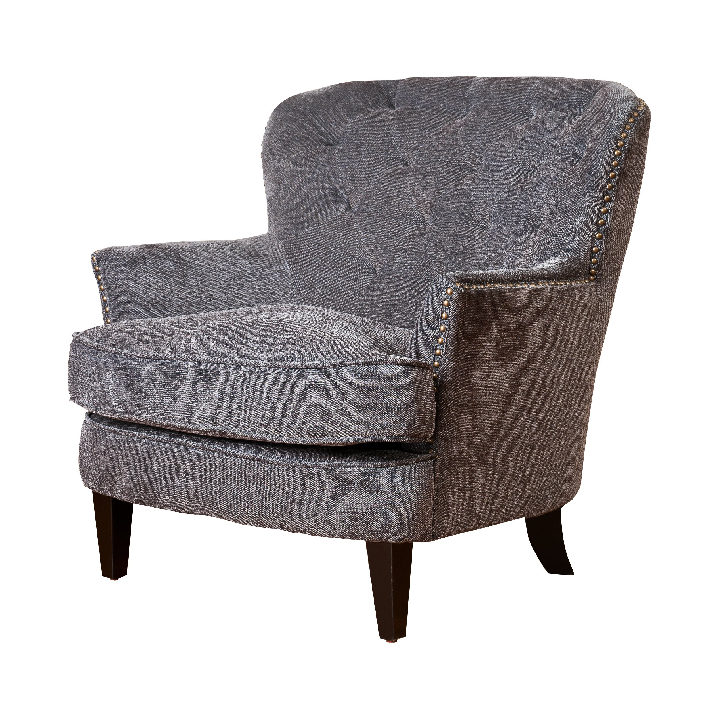 House of hampton greene tufted upholstered linen club Tufted accent chair